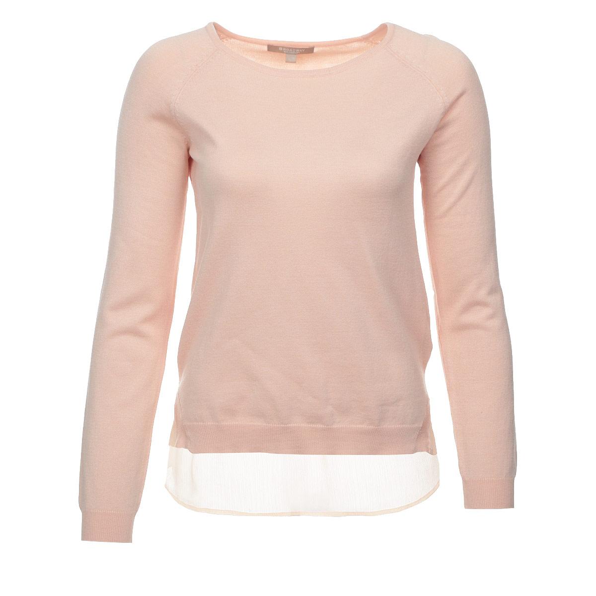 Пуловер женский. 1015245010152450 30BСтильный женский пуловер Broadway, изготовленный из мягкой вискозы с добавлением нейлона, не сковывает движения, обеспечивая наибольший комфорт. Модель с круглым вырезом горловины и длинными рукавами-реглан. Спинка по низу дополнена широкой оборкой, выполненной из полупрозрачного материала контрастного цвета. Этот модный пуловер послужит отличным дополнением к вашему гардеробу, он станет главной составляющей вашего стиля. В нем вы всегда будете чувствовать себя уютно и комфортно.
