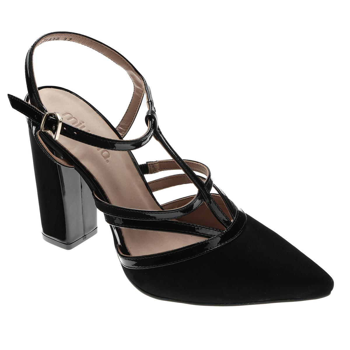 Туфли женские. 142-1438142-1438Элегантные туфли от Miucha внесут изысканные нотки в ваш модный образ. Модель выполнена из натуральной лакированной кожи и оформлена вставкой из натурального нубука на носке, пересекающимися ремешками на подъеме. Заостренный вытянутый носок смотрится невероятно женственно. Ремешок с металлической пряжкой отвечает за надежную фиксацию модели на ноге. Длина ремешка регулируется за счет болта. Мягкая стелька из натуральной кожи гарантирует комфорт при ходьбе. Высокий каблук и подошва с рифлением обеспечивают идеальное сцепление с любыми поверхностями. Роскошные туфли подчеркнут ваш отменный вкус!