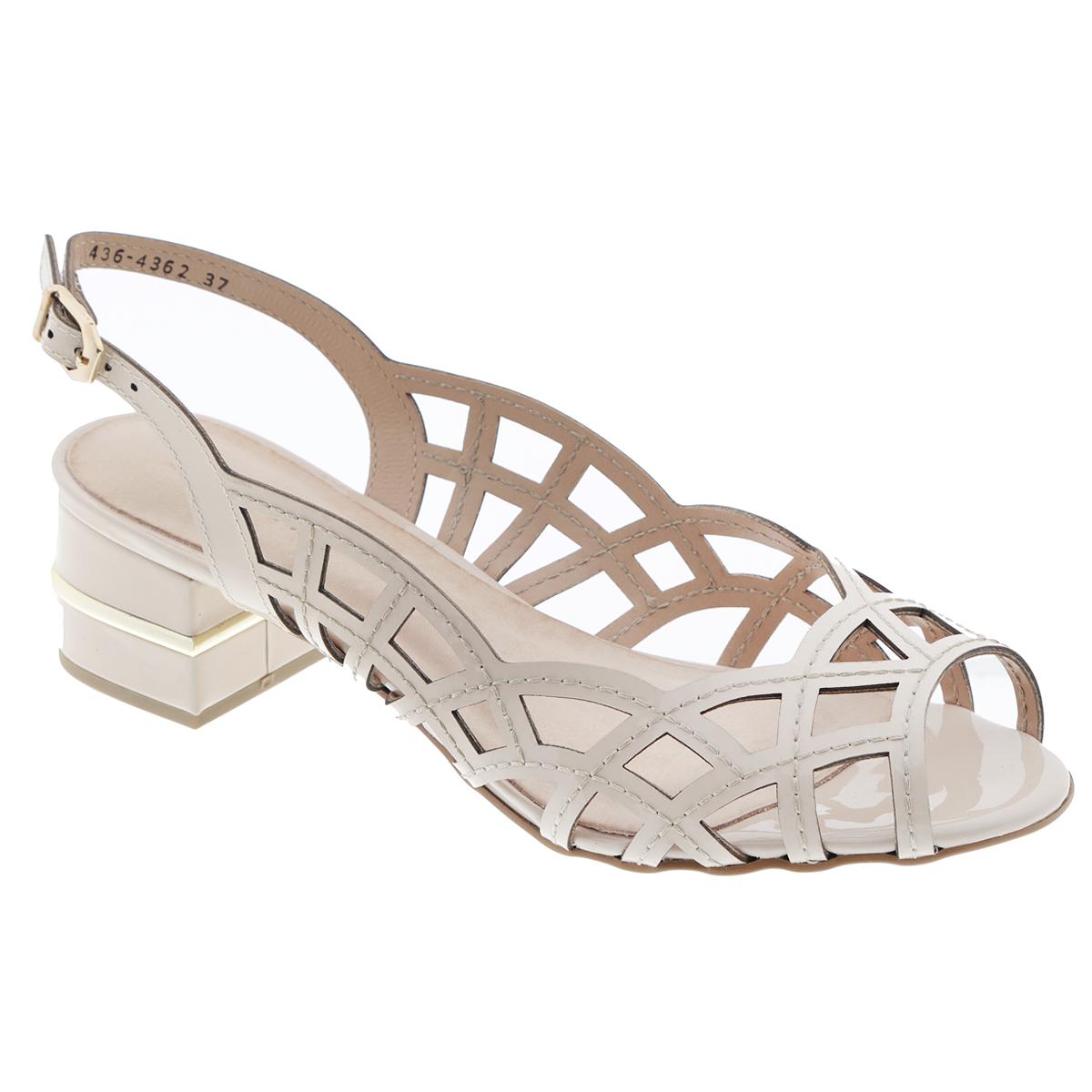 Босоножки. 436-4362436-4362Стильные босоножки от Miucha займут достойное место среди вашей коллекции летней обуви. Модель выполнена из натуральной лакированной кожи и оформлена крупной перфорацией. Открытый носок и задник обеспечивают дополнительную вентиляцию, позволяют ногам дышать. Ремешок с металлической пряжкой оригинальной формы отвечает за надежную фиксацию модели на ноге. Длина ремешка регулируется за счет болта. Стелька из натуральной кожи гарантирует комфорт при ходьбе. Средняя часть каблука декорирована по контуру золотистой пластиной. Рифление на каблуке и на подошве защищает изделие от скольжения. Прелестные босоножки очаруют вас своим дизайном с первого взгляда.