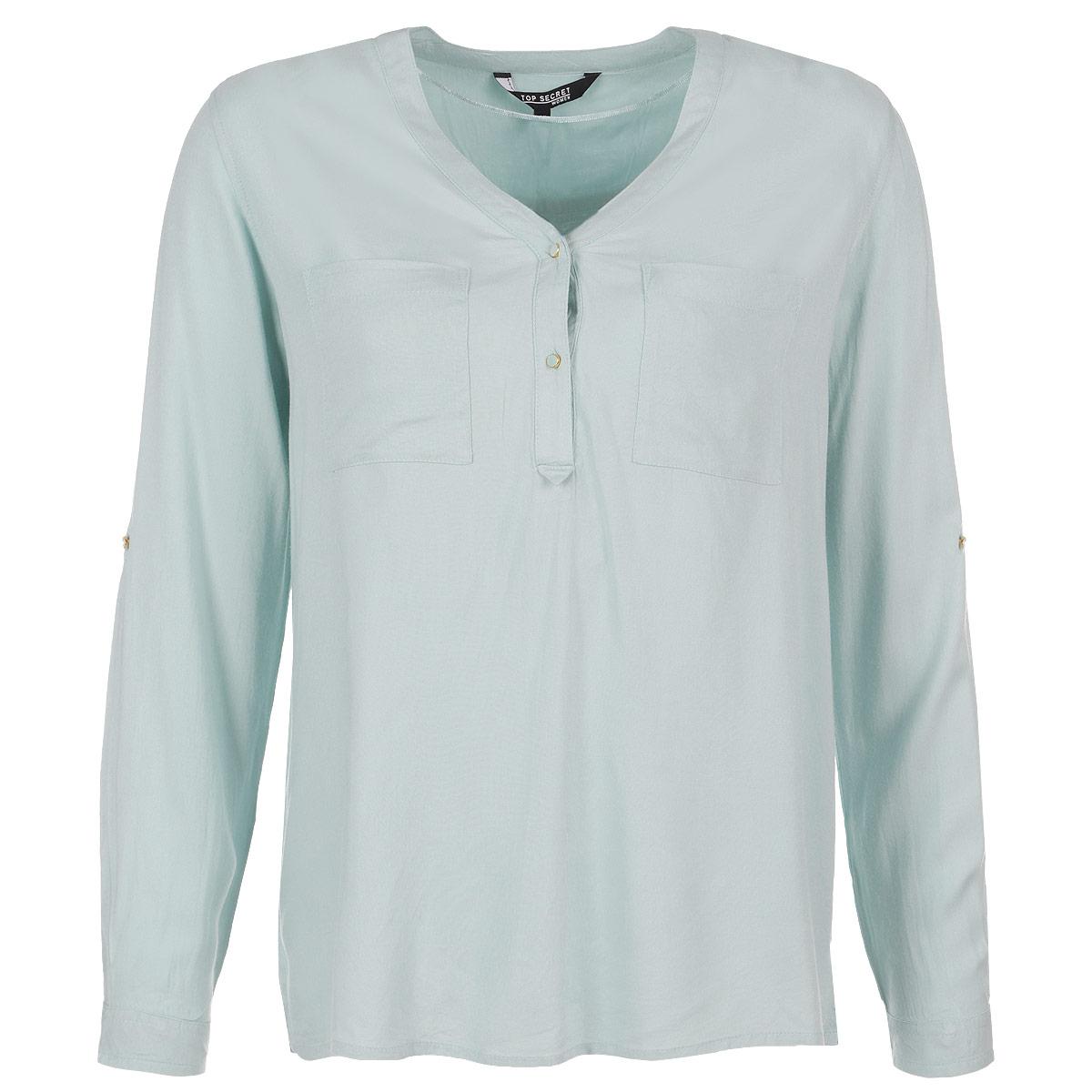 Блузка женская. SKL1741ZISKL1741ZIСтильная женская блуза Top Secret, выполненная из высококачественного материала, обладает высокой теплопроводностью, воздухопроницаемостью и гигроскопичностью, позволяет коже дышать, тем самым обеспечивая наибольший комфорт при носке. Блуза прямого кроя с длинными рукавами, и V-образным воротником застегивается на две золотистые пуговицы. Однотонная блуза дополнена двумя нагрудными карманами. Такая блузка будет дарить вам комфорт в течение всего дня и послужит замечательным дополнением к вашему гардеробу.
