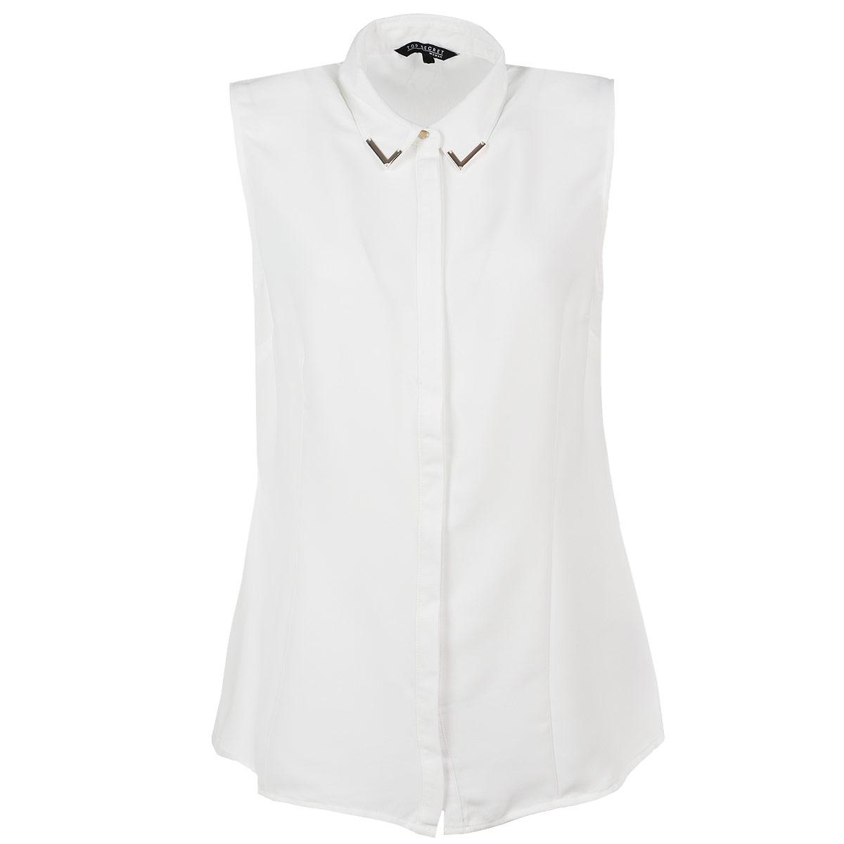 БлузкаSKE0007BIСтильная женская блуза Top Secret, выполненная из высококачественного материала, обладает высокой теплопроводностью, воздухопроницаемостью и гигроскопичностью, позволяет коже дышать, тем самым обеспечивая наибольший комфорт при носке. Блуза прямого кроя без рукавов, с отложным воротником застегивается на пуговицы. Уголки отложного воротника дополнены декоративными металлическими накладками. Такая блузка будет дарить вам комфорт в течение всего дня и послужит замечательным дополнением к вашему гардеробу.