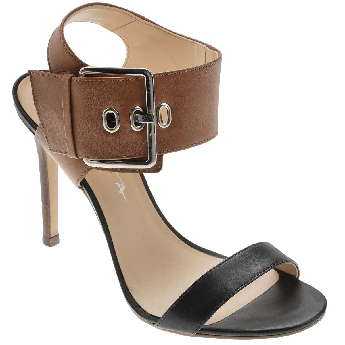 Босоножки. 34845143484514Стильные босоножки от Tabita займут достойное место в вашем гардеробе. Модель выполнена из натуральной высококачественной кожи и исполнена в лаконичном стиле. Ремешок с крупной металлической пряжкой прямоугольной формы надежно зафиксирует модель на вашей ноге. Длина ремешка регулируется за счет болта. Стелька из искусственной кожи комфортна при движении. Ультравысокий каблук стилизован под дерево. Подошва с рифлением обеспечивает отличное сцепление с любыми поверхностями. Изящные босоножки прекрасно дополнят ваш женственный образ и подчеркнут безупречный вкус.