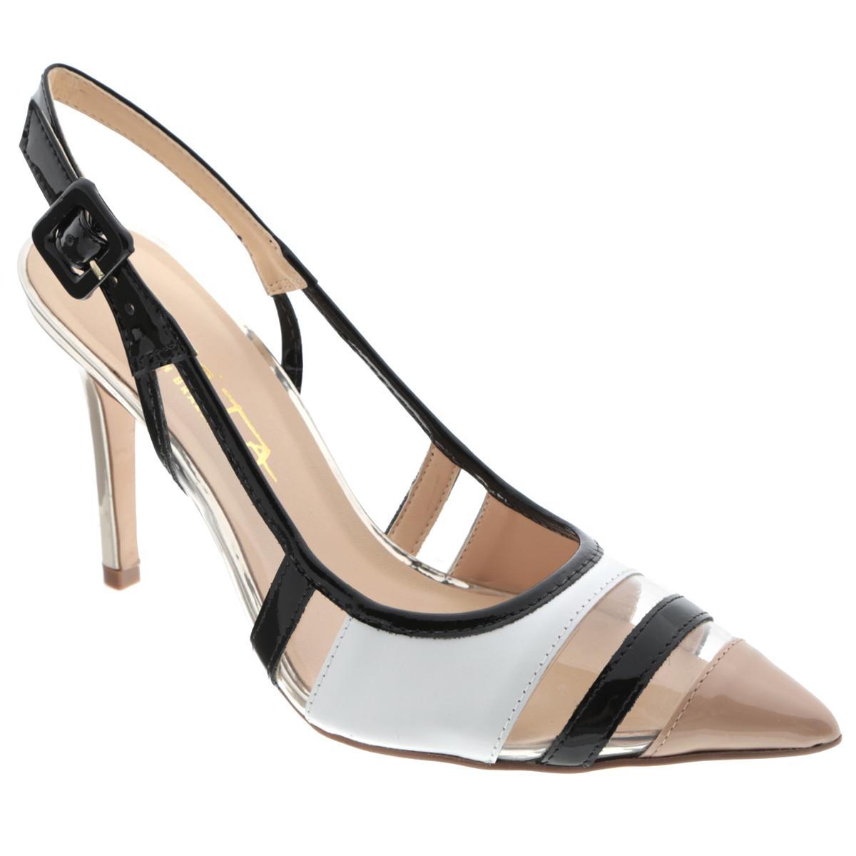 Туфли женские. 29747662974766Элегантные туфли от Tabita подчеркнут вашу женственность! Модель выполнена из лакированной кожи и оформлена вставками из натуральной кожи, прозрачными вставками из пластика. Заостренный вытянутый носок смотрится невероятно женственно. Ремешок с прямоугольной пряжкой надежно зафиксирует модель на вашей щиколотке. Длина ремешка регулируется за счет болта. Стелька из искусственной кожи комфортна при движении. Подошва с рифлением обеспечивает отличное сцепление с любыми поверхностями. Оригинальные туфли внесут изюминку в любой из ваших модных образов.