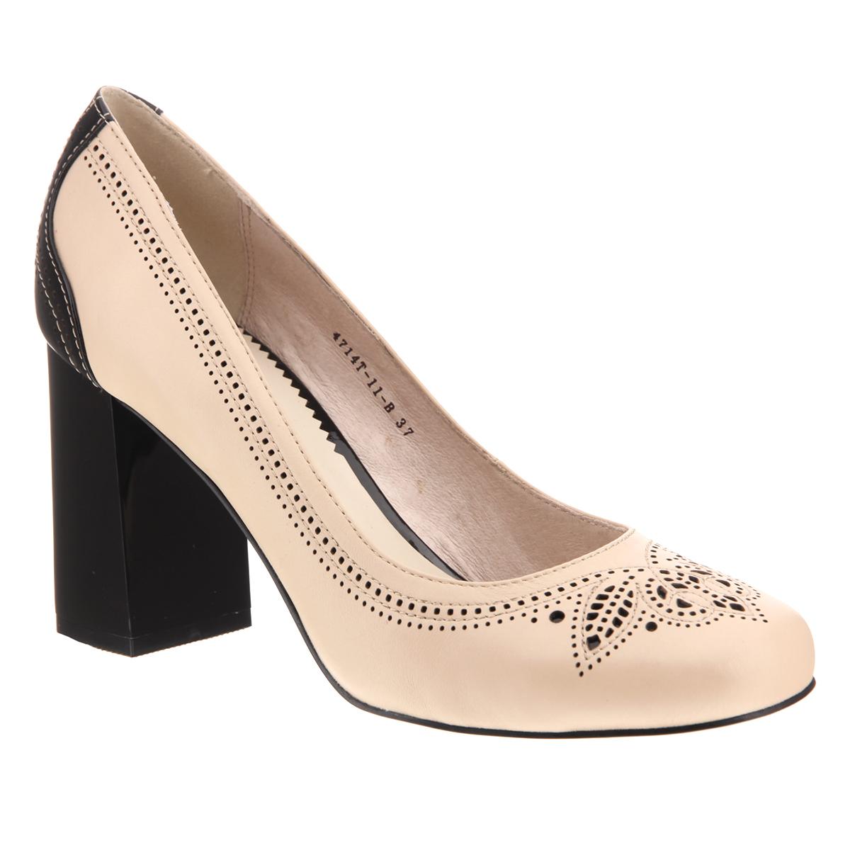 4714T-11-BЭлегантные женские туфли на каблуке от Lisette прекрасно подчеркнут ваш стиль. Верх модели и внутренняя часть выполнены из натуральной кожи. Пяточная часть контрастного цвета. Устойчивый каблук лакированный. Подошва выполнена из прочной резины с противоскользящим рифлением. Оформлена модель оригинальной перфорацией. Такие туфли станут прекрасным дополнением вашего гардероба. Они сделают вас ярче и подчеркнут вашу индивидуальность.