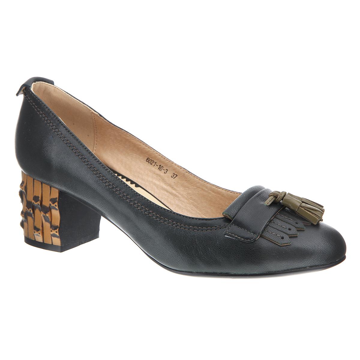 Туфли женские. 6021-16-36021-16-3Женские туфли на каблуке от Lisette прекрасно подчеркнут ваш стиль. Верх модели и внутренняя часть выполнены из натуральной кожи. Стелька из натуральной кожи гарантирует комфорт и удобство при ходьбе. Оформлено изделие бахромой и декоративными кисточками контрастного цвета. Подошва выполнена из прочной резины с противоскользящим рифлением. Устойчивый широкий каблук оформлен декоративной отделкой. Такие туфли станут прекрасным дополнением вашего гардероба. Они сделают вас ярче и подчеркнут вашу индивидуальность.