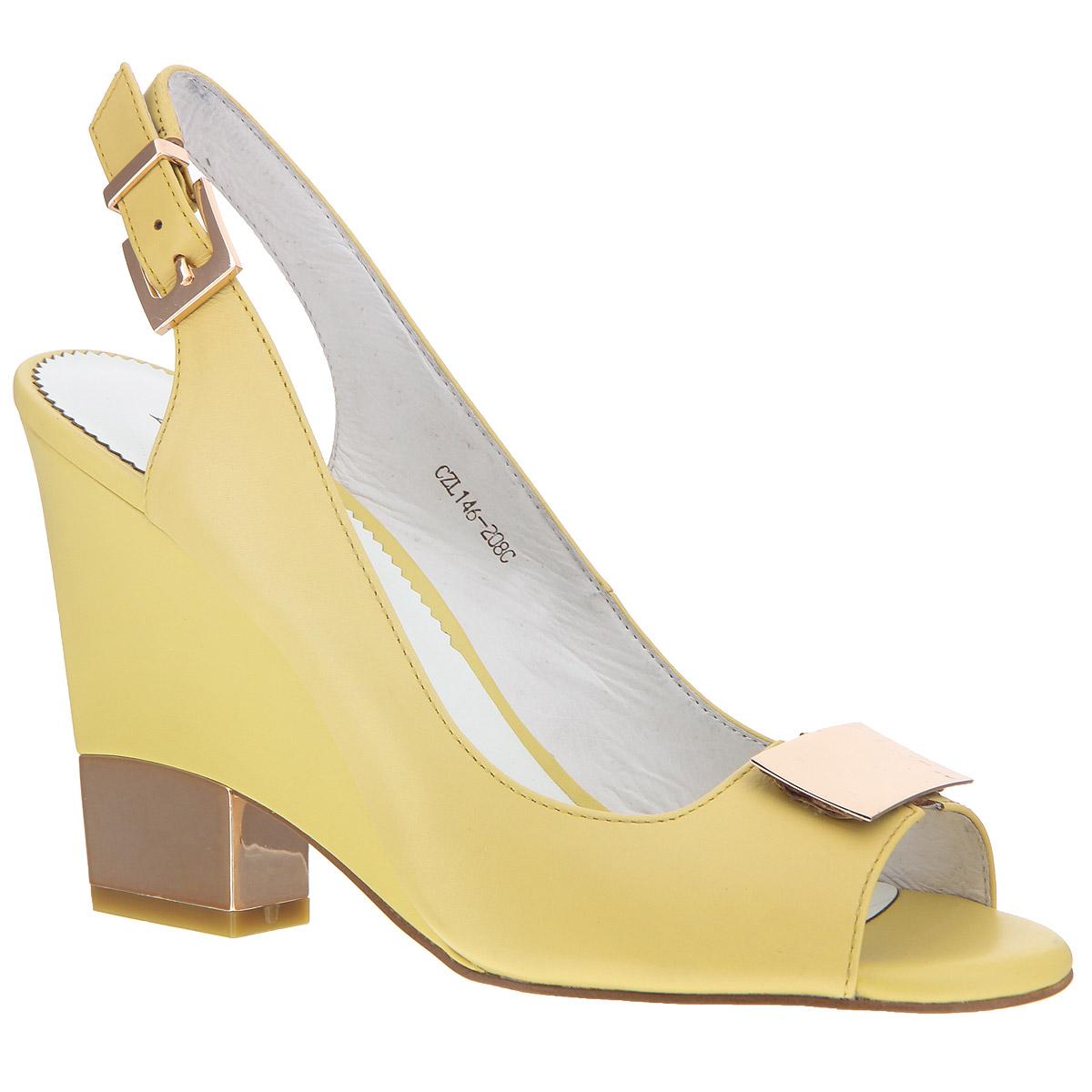 CZL146-208CСтильные босоножки на каблуке от Lisette станут прекрасным дополнением летнего гардероба. Верх модели выполнен из натуральной кожи. Мысок декорирован металлической пластиной. Внутренняя часть и стелька из натуральной кожи гарантируют комфорт и удобство. Пятка и носок открыты. Ремешок с металлической пряжкой надежно фиксирует модель на ноге. Над невысоким каблуком, стилизованным под металлический, имеется вставка-танкетка. Подошва выполнена из прочной резины с нескользящим рифлением. Такие босоножки сделают вас ярче и подчеркнут вашу индивидуальность!