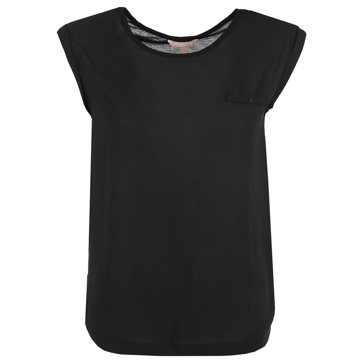 Блузка. 1015235310152353 001Стильная блузка Broadway, выполненная из высококачественного материала, - находка для современной женщины, желающей выглядеть стильно и модно. Перед блузки выполнен из полиэстера, спинка - из полиэстера и вискозы. Модель свободного кроя с короткими рукавами и круглым вырезом горловины будет отлично на вас смотреться. На груди блузка оформлена имитацией прорезного кармашка на пуговице. Рукава оформлены набольшими отворотами. Такая модель, несомненно, вам понравится и послужит отличным дополнением к вашему гардеробу.