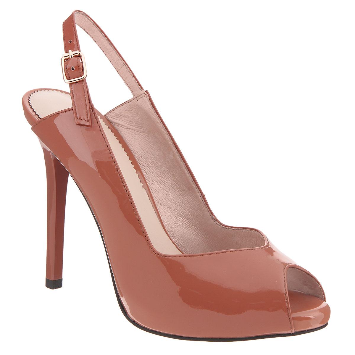 Туфли женские. CZL133-102ACZL133-102AЖенские туфли на шпильке от Lisette прекрасно подчеркнут ваш стиль. Верх модели выполнен из натуральной лакированной кожи. Внутренняя часть и стелька из натуральной кожи гарантируют комфорт и удобство при ходьбе. Открытый носок добавляет женственности в образ. Открытая пятка дополнена тонким ремешком с металлической пряжкой, который фиксирует модель на ноге. Высоту каблука компенсирует небольшая платформа. Подошва выполнена из прочной резины с противоскользящим рифлением. Такие туфли станут прекрасным дополнением вашего гардероба. Они сделают вас ярче и подчеркнут вашу индивидуальность!