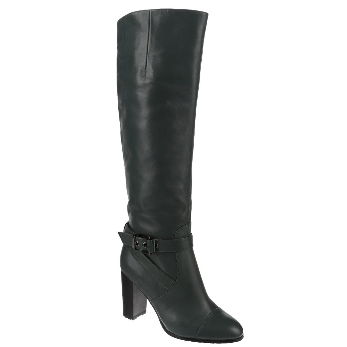 Сапоги женские. CZL144H-258B-LCZL144H-258B-LЖенские сапоги на каблуке от Lisette прекрасно подчеркнут ваш стиль. Верх модели выполнен из натуральной кожи. Мягкая байковая подкладка не позволит вашим ногам замерзнуть. Застегиваются сапоги на застежку-молнию до середины голени. Эластичные вставки из резинки на голенище позволят изделию идеально сесть на ноге. Оформлена модель декоративными ремешками с металлической пряжкой. Подошва выполнена из прочной резины. Каблук устойчивый. Такие сапоги сделают вас ярче и подчеркнут вашу женственность.