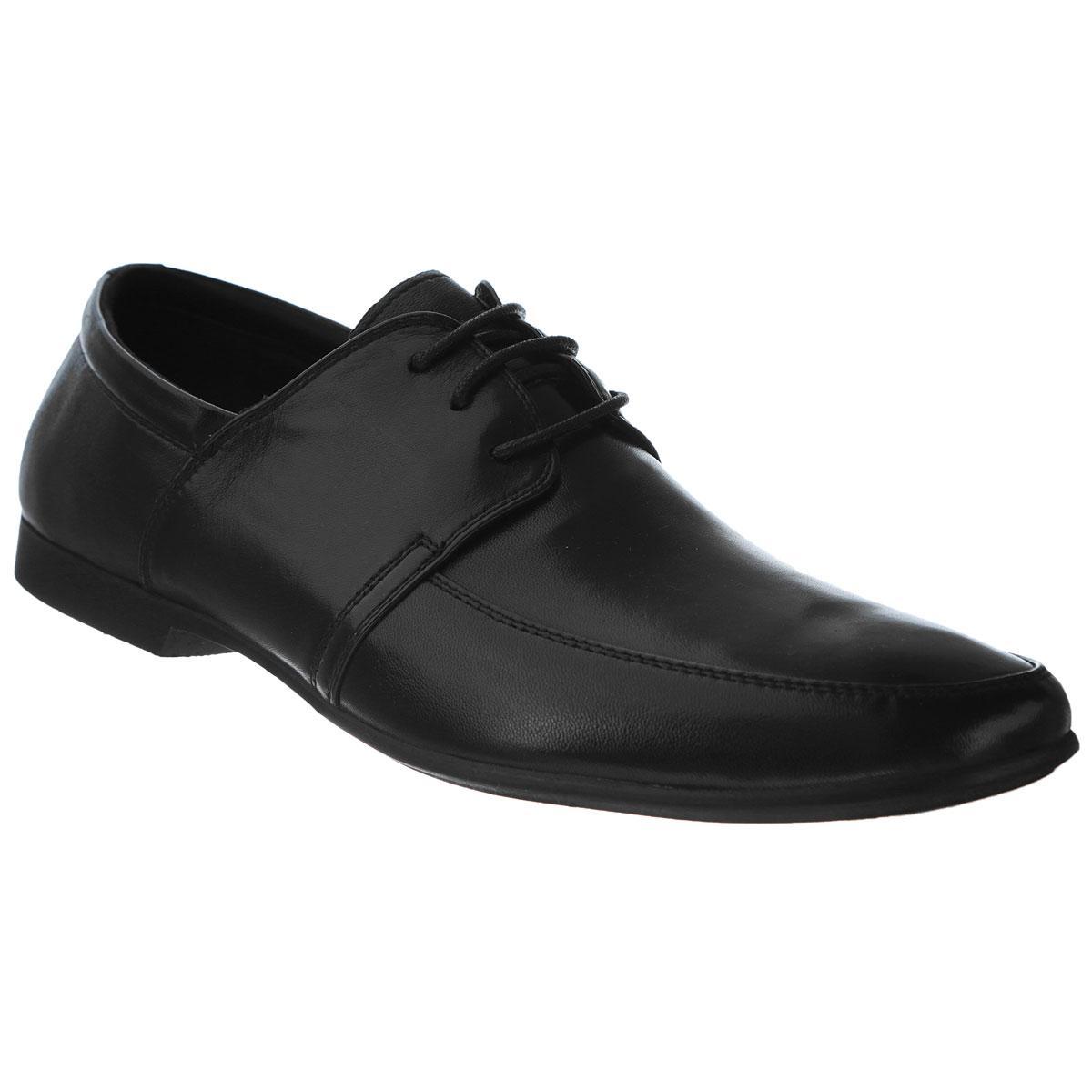 Туфли мужские. 104-145-18104-145-18Элегантные мужские туфли от Dino Ricci займут достойное место среди вашей коллекции обуви. Модель выполнена из натуральной высококачественной кожи и оформлена декоративной прострочкой. Шнуровка позволяет прочно зафиксировать модель на ноге. Стелька EVA с внешней поверхностью из натуральной кожи обеспечивает комфорт при передвижении. Невысокий каблук и подошва с рифлением обеспечивают отличное сцепление с поверхностью. Стильные туфли прекрасно дополнят ваш деловой образ.