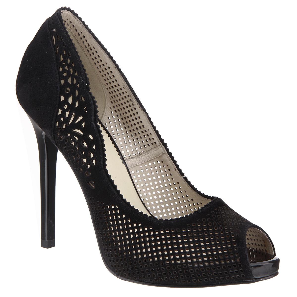 Туфли женские. CZL133-457CCZL133-457CЭлегантные женские туфли на шпильке от Lisette прекрасно подчеркнут ваш стиль. Верх модели выполнен из мягкого велюра. Внутренняя часть исполнена из натуральной кожи. Открытый носок добавляет женственности в образ. Небольшая скрытая платформа компенсирует высоту каблука. Подошва выполнена из прочной резины с противоскользящим рифлением. Оформлена модель оригинальной перфорацией. Такие туфли станут прекрасным дополнением вашего гардероба. Они сделают вас ярче и подчеркнут вашу индивидуальность.