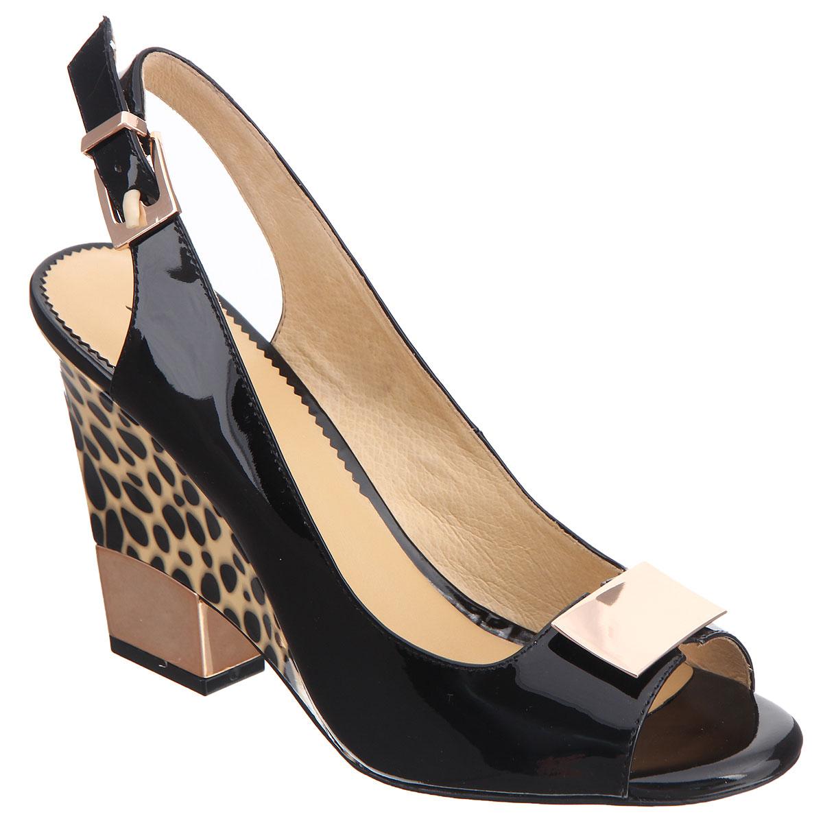 Босоножки женские. CZL146-208ACZL146-208AСтильные босоножки на каблуке от Lisette станут прекрасным дополнением летнего гардероба. Верх модели выполнен из натуральной лакированной кожи и оформлен прямоугольным декоративным элементом. Внутренняя часть и стелька из натуральной кожи гарантируют комфорт и удобство. Пятка и носок открыты. Ремешок с металлической пряжкой, огибающий пятку, надежно фиксирует модель на ноге. Над небольшим блестящим каблуком имеется вставка-танкетка, оформленная звериным принтом. Подошва выполнена из прочной резины с нескользящим рифлением. Такие босоножки сделают вас ярче и подчеркнут вашу индивидуальность!
