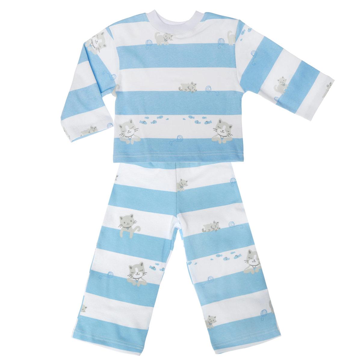 Пижама5584_котенок, полоскиУютная детская пижама Трон-плюс, состоящая из джемпера и брюк, идеально подойдет вашему ребенку и станет отличным дополнением к детскому гардеробу. Изготовленная из натурального хлопка, она необычайно мягкая и легкая, не сковывает движения, позволяет коже дышать и не раздражает даже самую нежную и чувствительную кожу ребенка. Джемпер с длинными рукавами и круглым вырезом горловины оформлен ненавязчивым принтом в полоску, а также изображениями котенка. Вырез горловины дополнен трикотажной эластичной резинкой. Брюки на талии имеют эластичную резинку, благодаря чему не сдавливают живот ребенка и не сползают. Оформлены брючки также ненавязчивым принтом в полоску и изображениями котенка. В такой пижаме ваш ребенок будет чувствовать себя комфортно и уютно во время сна.