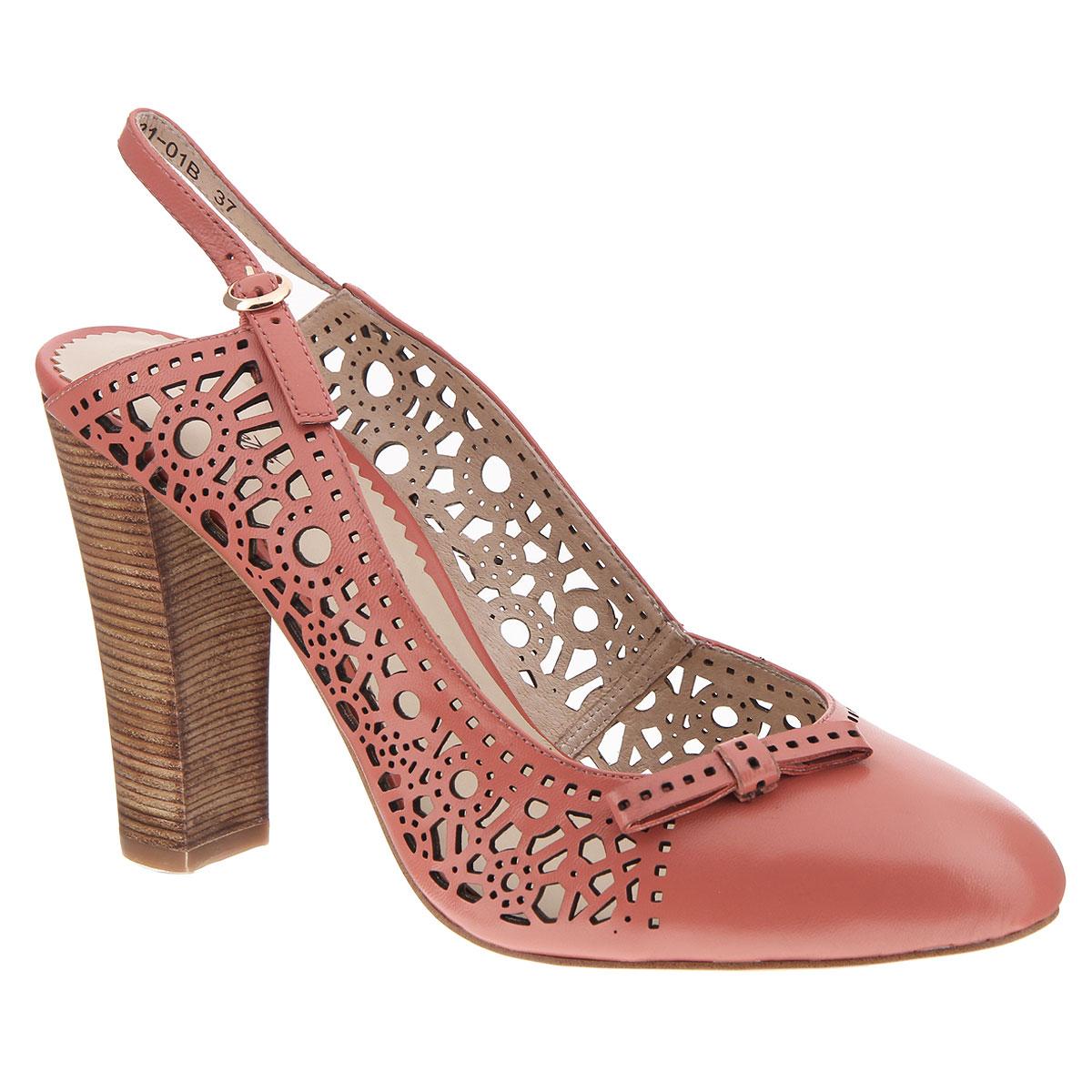 X221-01BЯркие женские туфли на каблуке от Lisette прекрасно подчеркнут ваш стиль. Верх модели и внутренняя часть выполнены из натуральной кожи. Стелька из натуральной кожи гарантирует комфорт и удобство при ходьбе. Пятка открытая. Ремешок с металлической пряжкой вокруг пятки надежно фиксирует модель на ноге. Оформлено изделие перфорацией и небольшим бантиком. Подошва выполнена из прочной резины с противоскользящим рифлением. Устойчивый широкий каблук оформлен декоративной отделкой. Такие туфли станут прекрасным дополнением вашего гардероба. Они сделают вас ярче и подчеркнут вашу индивидуальность.