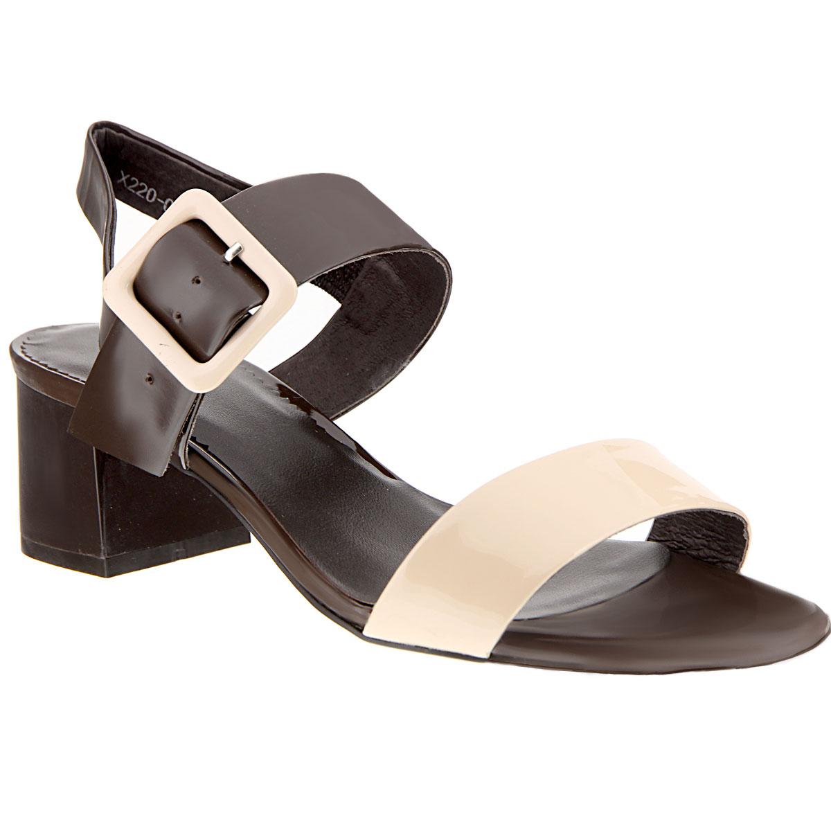 Босоножки женские. X220-07AX220-07AСтильные босоножки на каблуке от Lisette станут прекрасным дополнением летнего гардероба. Верх модели выполнен из натуральной лакированной кожи. Внутренняя часть и стелька также выполнены из натуральной кожи. Босоножки с открытым носком и пяткой надежно фиксирует на ноге ремешок с металлической пряжкой, обтянутой кожей. Устойчивый широкий каблук обеспечит комфорт при ходьбе. Подошва выполнена из прочной резины с нескользящим рифлением. Такие босоножки сделают вас ярче и подчеркнут вашу индивидуальность.