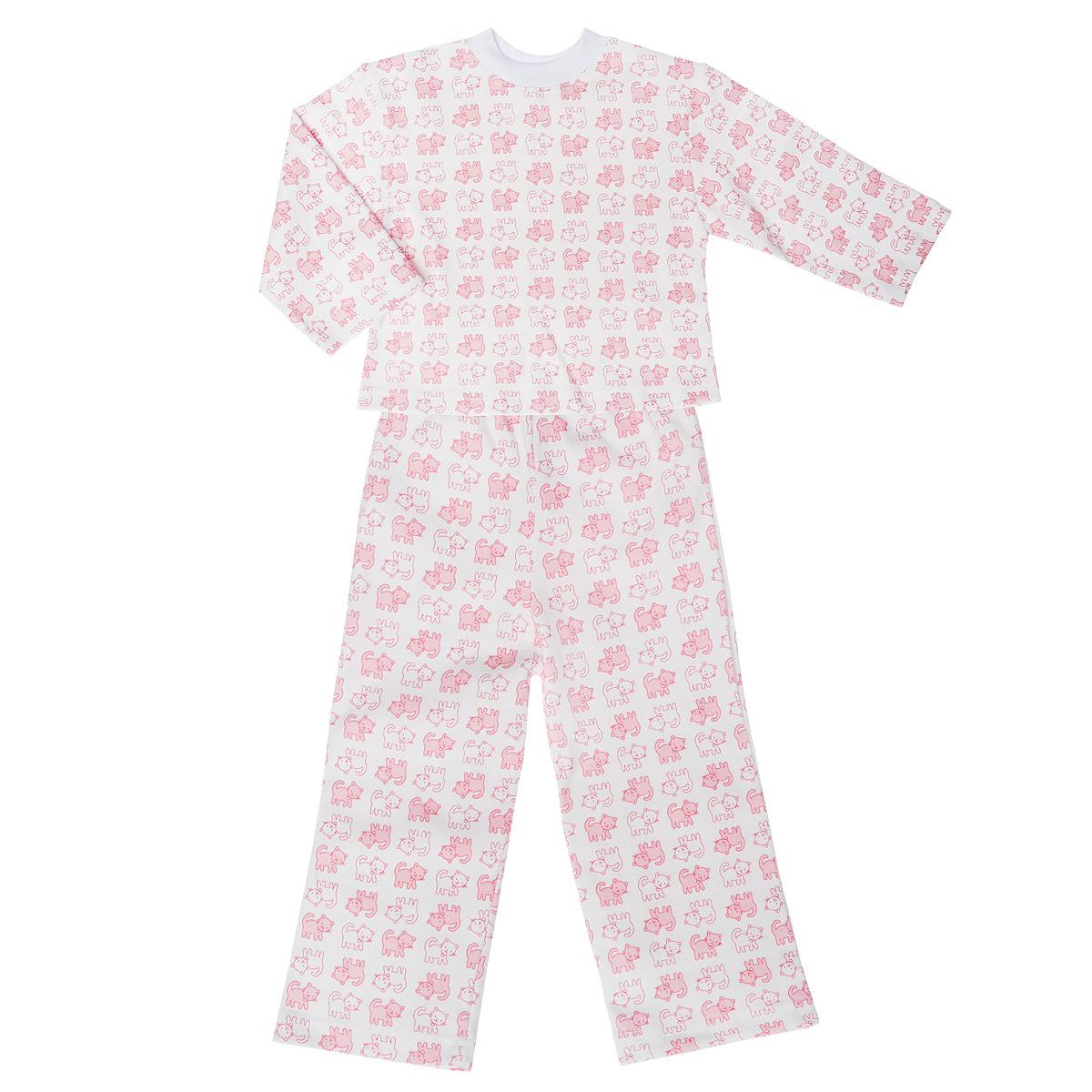 Пижама детская. 5584_котенок5584_котенокУютная детская пижама Трон-плюс, состоящая из джемпера и брюк, идеально подойдет вашему ребенку и станет отличным дополнением к детскому гардеробу. Изготовленная из натурального хлопка, она необычайно мягкая и легкая, не сковывает движения, позволяет коже дышать и не раздражает даже самую нежную и чувствительную кожу ребенка. Джемпер с длинными рукавами и круглым вырезом горловины оформлен ненавязчивым принтом с изображением котят. Вырез горловины дополнен трикотажной эластичной резинкой. Брюки на талии имеют эластичную резинку, благодаря чему не сдавливают живот ребенка и не сползают. Оформлены брючки также ненавязчивым принтом с изображением котят. В такой пижаме ваш ребенок будет чувствовать себя комфортно и уютно во время сна.