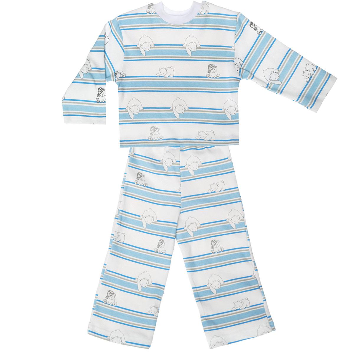 Пижама5584_мишка, полоскаУютная детская пижама Трон-плюс, состоящая из джемпера и брюк, идеально подойдет вашему ребенку и станет отличным дополнением к детскому гардеробу. Изготовленная из натурального хлопка, она необычайно мягкая и легкая, не сковывает движения, позволяет коже дышать и не раздражает даже самую нежную и чувствительную кожу ребенка. Джемпер с длинными рукавами и круглым вырезом горловины оформлен ненавязчивым принтом в полоску, а также изображением медвежат. Вырез горловины дополнен трикотажной эластичной резинкой. Брюки на талии имеют эластичную резинку, благодаря чему не сдавливают живот ребенка и не сползают. Оформлены брючки также ненавязчивым принтом в полоску и изображением медвежат. В такой пижаме ваш ребенок будет чувствовать себя комфортно и уютно во время сна.