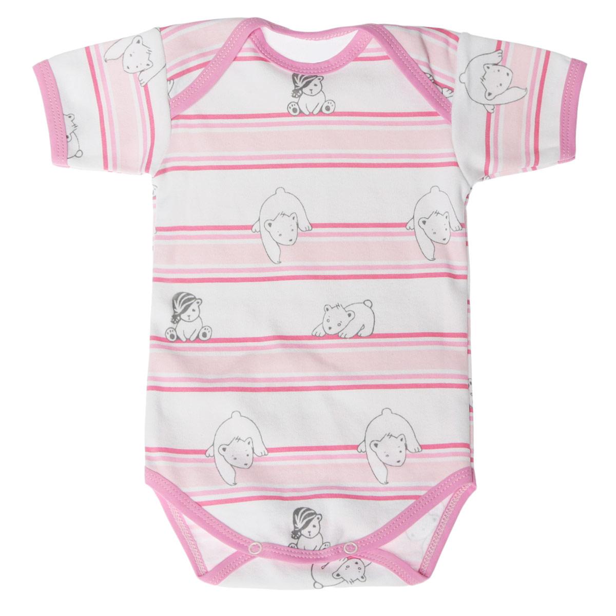 Боди-футболка детская. 5873_мишка, полоска5873_мишка, полоскаУдобное детское боди-футболка Трон-плюс послужит идеальным дополнением к гардеробу вашего крохи, обеспечивая ему наибольший комфорт. Боди с короткими рукавами и круглым вырезом горловины изготовлено из интерлока - натурального хлопка, благодаря чему оно необычайно мягкое и легкое, не раздражает нежную кожу ребенка и хорошо вентилируется, а эластичные швы приятны телу младенца и не препятствуют его движениям. Удобные запахи на плечах и кнопки на ластовице помогают легко переодеть ребенка или сменить подгузник. Вырез горловины, запахи, низ рукавов и ластовица дополнены бейкой. Оформлена модель принтом в полоску, а также изображениями медвежат. Боди полностью соответствует особенностям жизни ребенка в ранний период, не стесняя и не ограничивая его в движениях. В нем ваш ребенок всегда будет в центре внимания.