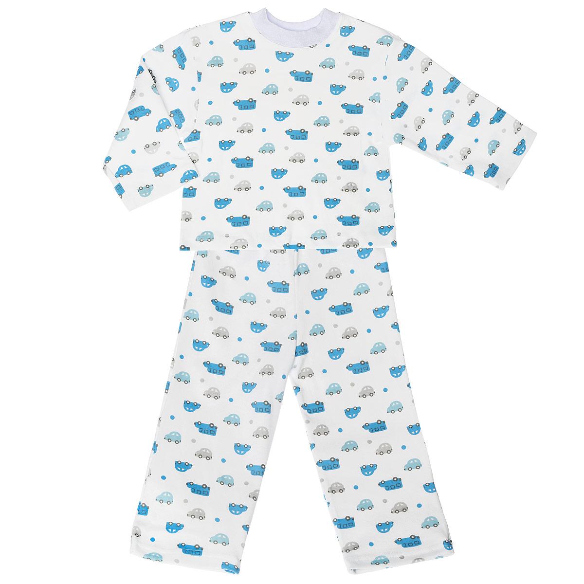Пижама для мальчика. 5584_машинки5584_машинкиУютная пижама для мальчика Трон-плюс, состоящая из джемпера и брюк, идеально подойдет вашему ребенку и станет отличным дополнением к детскому гардеробу. Изготовленная из натурального хлопка, она необычайно мягкая и легкая, не сковывает движения, позволяет коже дышать и не раздражает даже самую нежную и чувствительную кожу ребенка. Джемпер с длинными рукавами и круглым вырезом горловины оформлен ненавязчивым принтом с изображением машинок. Вырез горловины дополнен трикотажной эластичной резинкой. Брюки на талии имеют эластичную резинку, благодаря чему не сдавливают живот ребенка и не сползают. Оформлены брючки также ненавязчивым принтом с изображением машинок. В такой пижаме ваш ребенок будет чувствовать себя комфортно и уютно во время сна.