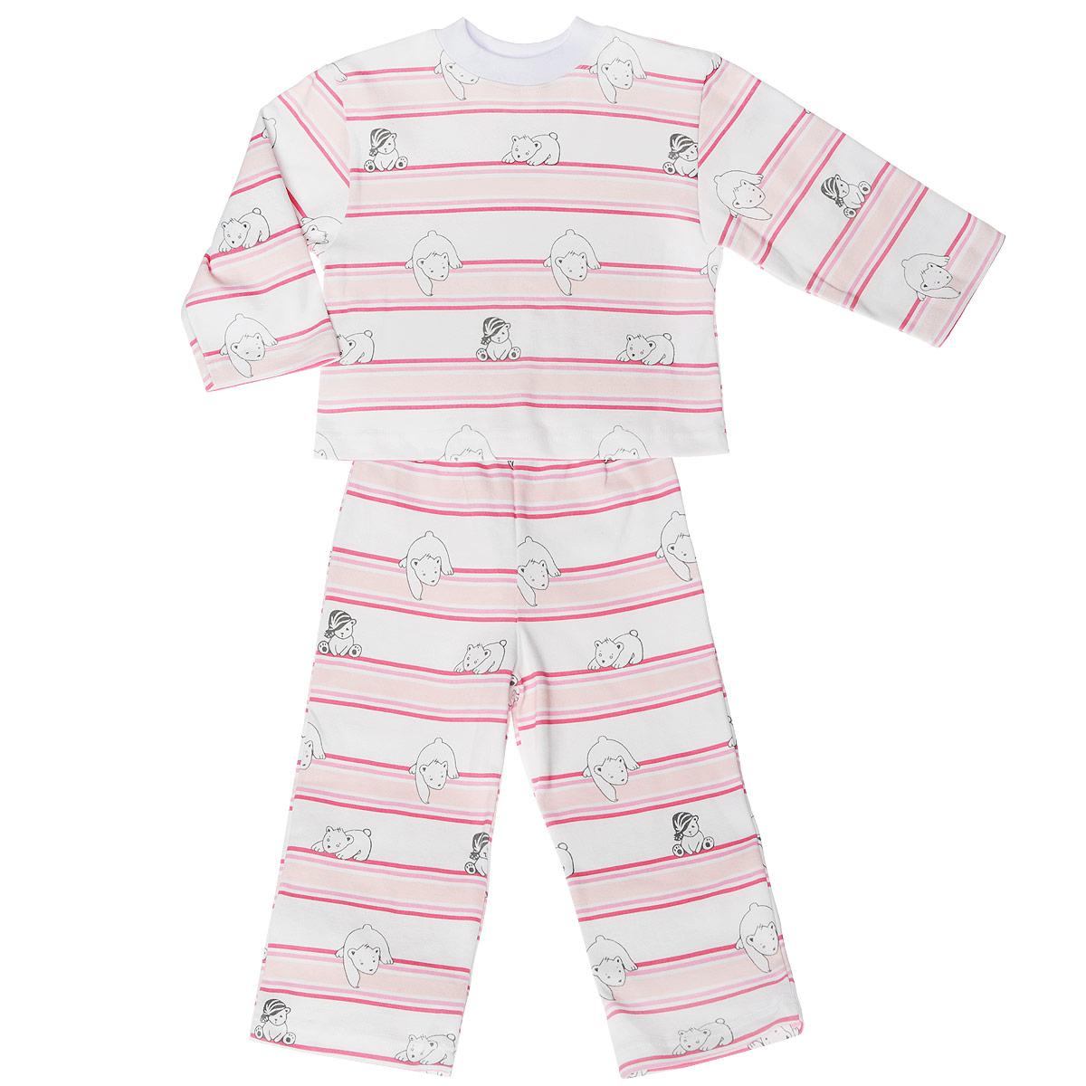 Пижама детская. 5584_мишка, полоска5584_мишка, полоскаУютная детская пижама Трон-плюс, состоящая из джемпера и брюк, идеально подойдет вашему ребенку и станет отличным дополнением к детскому гардеробу. Изготовленная из натурального хлопка, она необычайно мягкая и легкая, не сковывает движения, позволяет коже дышать и не раздражает даже самую нежную и чувствительную кожу ребенка. Джемпер с длинными рукавами и круглым вырезом горловины оформлен ненавязчивым принтом в полоску, а также изображением медвежат. Вырез горловины дополнен трикотажной эластичной резинкой. Брюки на талии имеют эластичную резинку, благодаря чему не сдавливают живот ребенка и не сползают. Оформлены брючки также ненавязчивым принтом в полоску и изображением медвежат. В такой пижаме ваш ребенок будет чувствовать себя комфортно и уютно во время сна.