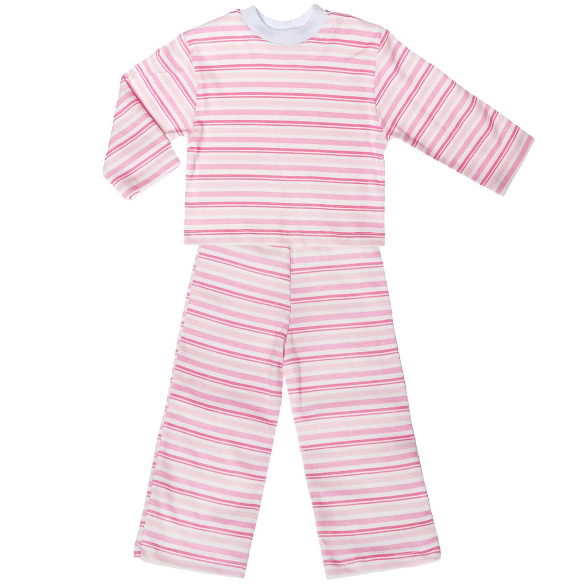 Пижама5584_полоскаУютная детская пижама Трон-плюс, состоящая из джемпера и брюк, идеально подойдет вашему ребенку и станет отличным дополнением к детскому гардеробу. Изготовленная из натурального хлопка, она необычайно мягкая и легкая, не сковывает движения, позволяет коже дышать и не раздражает даже самую нежную и чувствительную кожу ребенка. Джемпер с длинными рукавами и круглым вырезом горловины оформлен принтом в полоску. Вырез горловины дополнен трикотажной эластичной резинкой. Брюки на талии имеют эластичную резинку, благодаря чему не сдавливают живот ребенка и не сползают. Оформлены брючки также принтом в полоску. В такой пижаме ваш ребенок будет чувствовать себя комфортно и уютно во время сна.