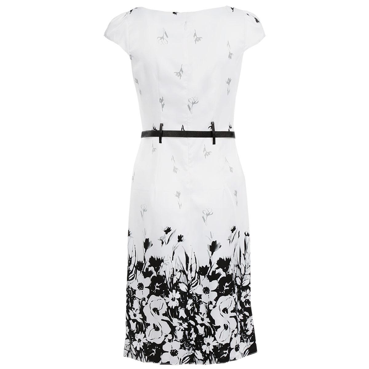300Элегантное платье Lautus изготовлено из высококачественного материала. Такое платье обеспечит вам комфорт и удобство при носке. Платье с короткими рукавами и круглым вырезом горловины понравится любой ценительнице классического стиля и современных форм. Платье на спинке застегивается на застежку-молнию. Приталенный силуэт и прямая юбка великолепно подчеркнут достоинства вашей фигуры. Платье оформлено оригинальным цветочным принтом, рукава присборены по окату, что придает им пышность. В комплект входит контрастный ремень. Изысканное платье создаст обворожительный неповторимый образ. Это модное и удобное платье станет превосходным дополнением к вашему гардеробу, оно подарит вам удобство и поможет вам подчеркнуть свой вкус и неповторимый стиль.