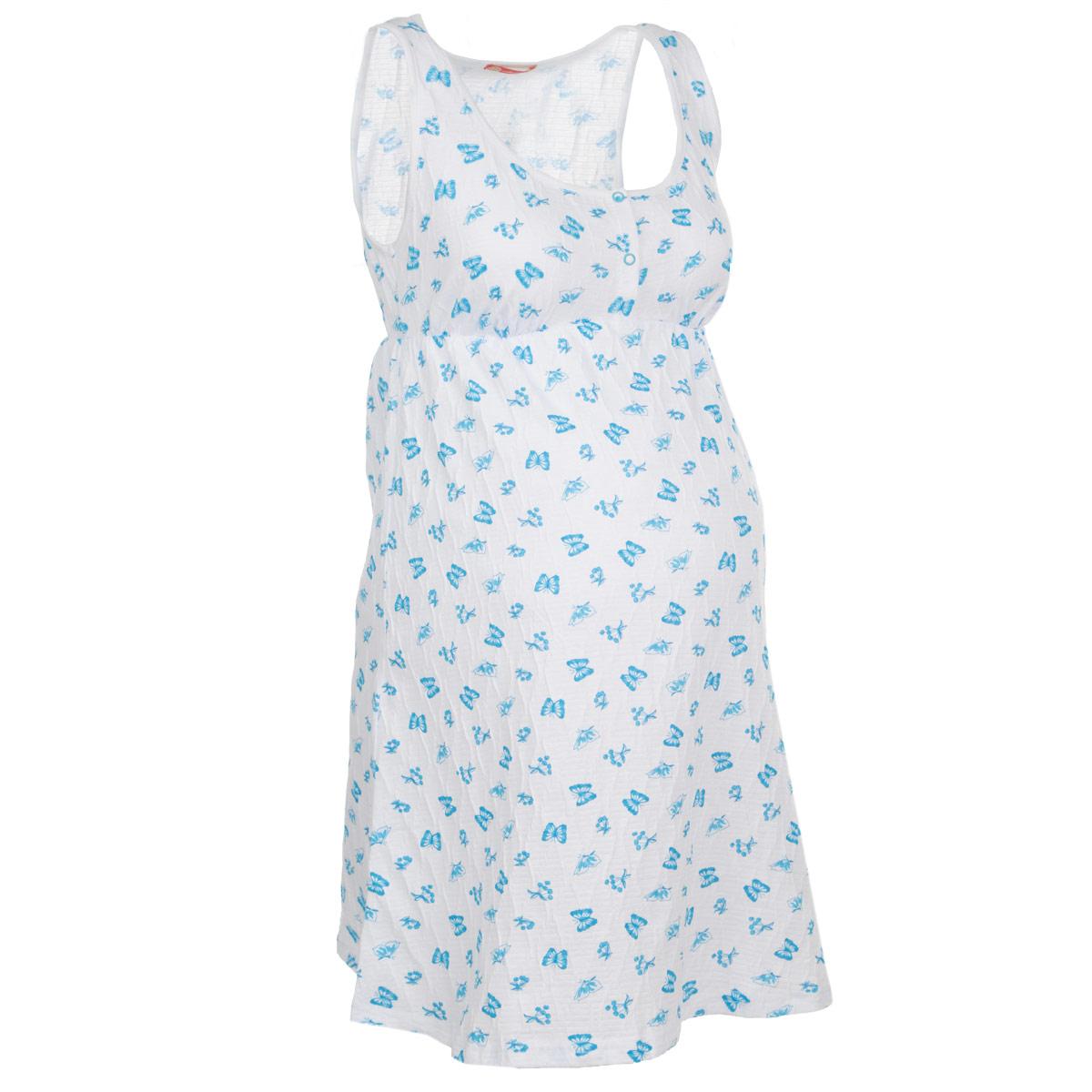 Ночная рубашка24140Удобная, красивая ночная сорочка для беременных и кормящих мам Мамин Дом, изготовленная из натурального хлопка с добавлением эластана, женственна и элегантна. Модель без рукавов, с круглым вырезом горловины застегивается на груди на кнопочки. Сорочка оформлена сборкой под грудью и украшена нежным принтом с изображением бабочек. Удобное расположение кнопок на груди обеспечивает максимальный доступ к груди во время грудного вскармливания. Свободный крой позволяет носить ночную сорочку как во время беременности, так и после родов. Такая сорочка сделает отдых будущей мамы комфортным. Сочетается с кардиганом арт. 25304 Mocco. Одежда, изготовленная из хлопка, приятна к телу, сохраняет тепло в холодное время года и дарит прохладу в теплое, позволяет коже дышать.