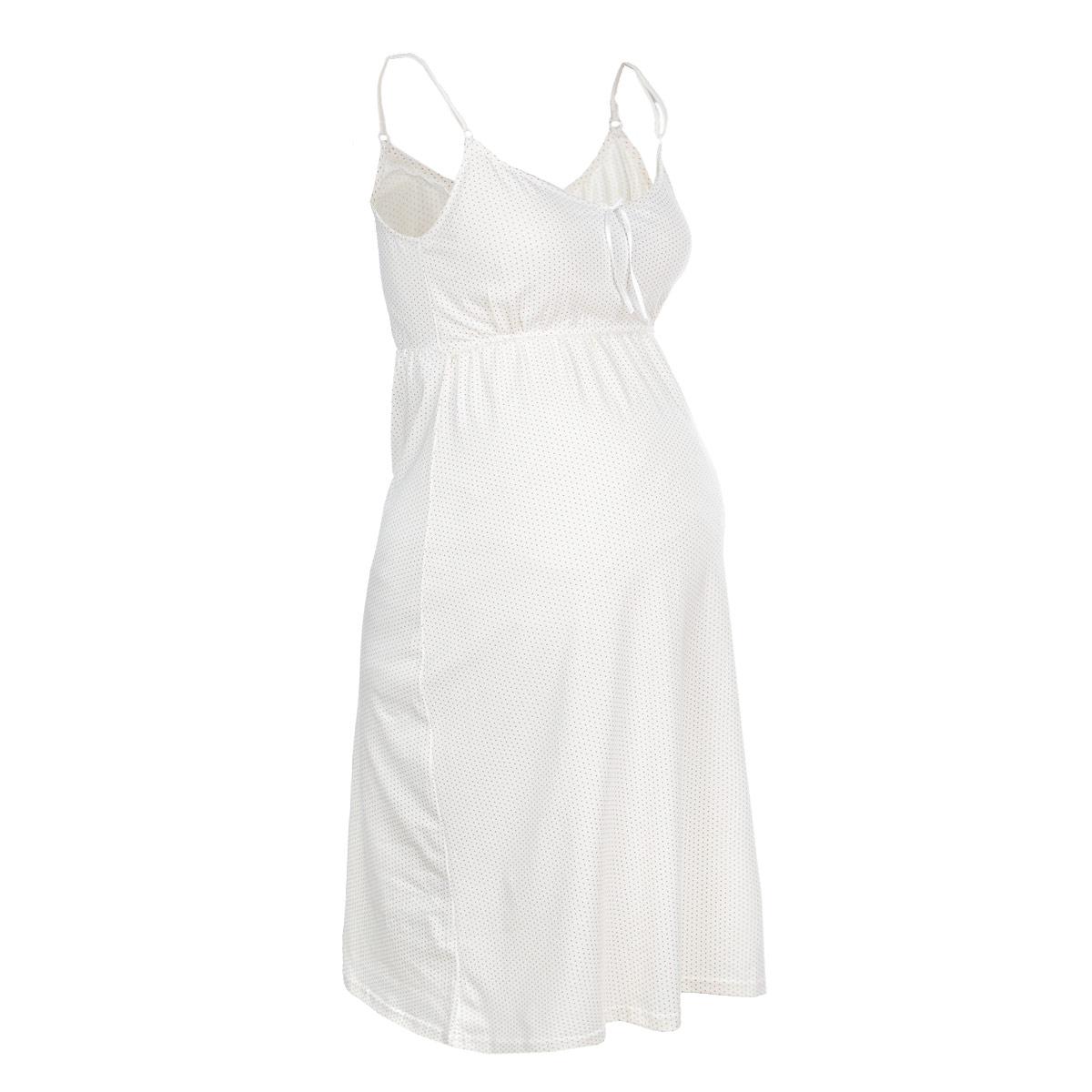 Ночная рубашка24129Удобная, красивая ночная сорочка для беременных и кормящих мам Мамин Дом, изготовленная из натурального хлопка с добавлением эластана, женственна и элегантна. Модель на тонких бретелях оформлена очаровательным принтом в мелкий горох. Бретельки регулируются по длине. Секрет для кормления малыша прикрыт широкой кокеткой, что позволяет в любой момент быстро и легко покормить малыша. Свободный крой позволяет носить ночную сорочку как во время беременности, так и после родов. Такая сорочка сделает отдых будущей мамы комфортным. Сочетается с халатом арт. 25303 Mellow Rose Одежда, изготовленная из хлопка, приятна к телу, сохраняет тепло в холодное время года и дарит прохладу в теплое, позволяет коже дышать.