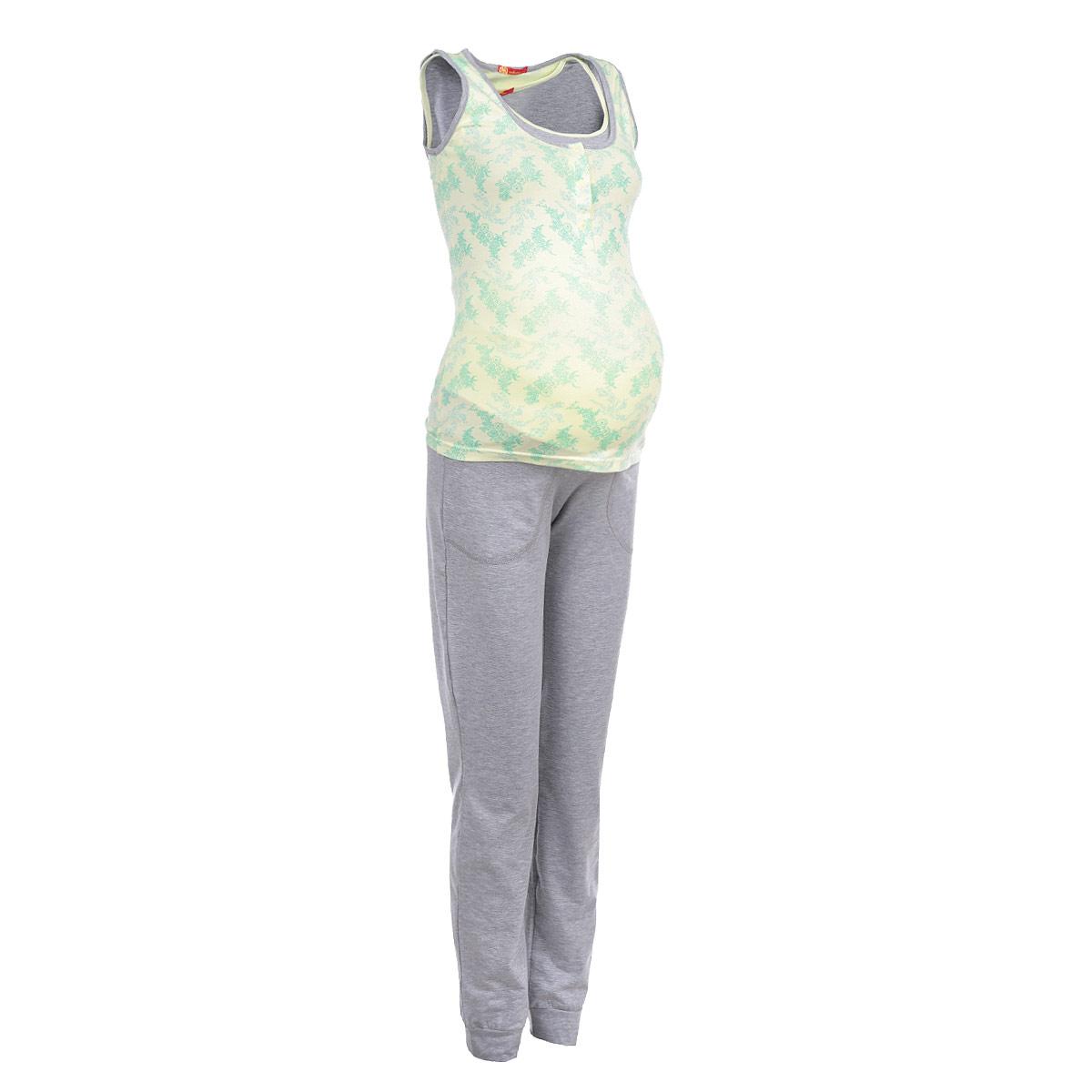 Пижама24138Удобная и стильная пижама для беременных и кормящих мам Мамин Дом, изготовленная из натурального хлопка с добавлением эластана, подчеркнет ваше очарование в этот прекрасный период вашей жизни. Топ оформлен очаровательным цветочным принтом, а длинные штанишки выполнены в контрастных цветах и оснащены затягивающимся шнурком и двумя накладными карманами. Благодаря свободному крою, такая пижама подарит вам комфорт на любом сроке беременности, и после родов. Топ имеет секрет кормления, выполненный в виде внутренней вставки на груди. Также на груди предусмотрена небольшая застежка на кнопки, обеспечивает удобный и быстрый доступ к груди. Низ штанин дополнен эластичными манжетами, а резинка под живот дает дополнительную поддержку, выполняя эффект бандажа. Такая пижама сделает отдых будущей мамы комфортным. Сочетается с кардиганом Skylight арт. 25307. Одежда, изготовленная из хлопка, приятна к телу, сохраняет тепло в холодное время года и дарит прохладу в теплое,...