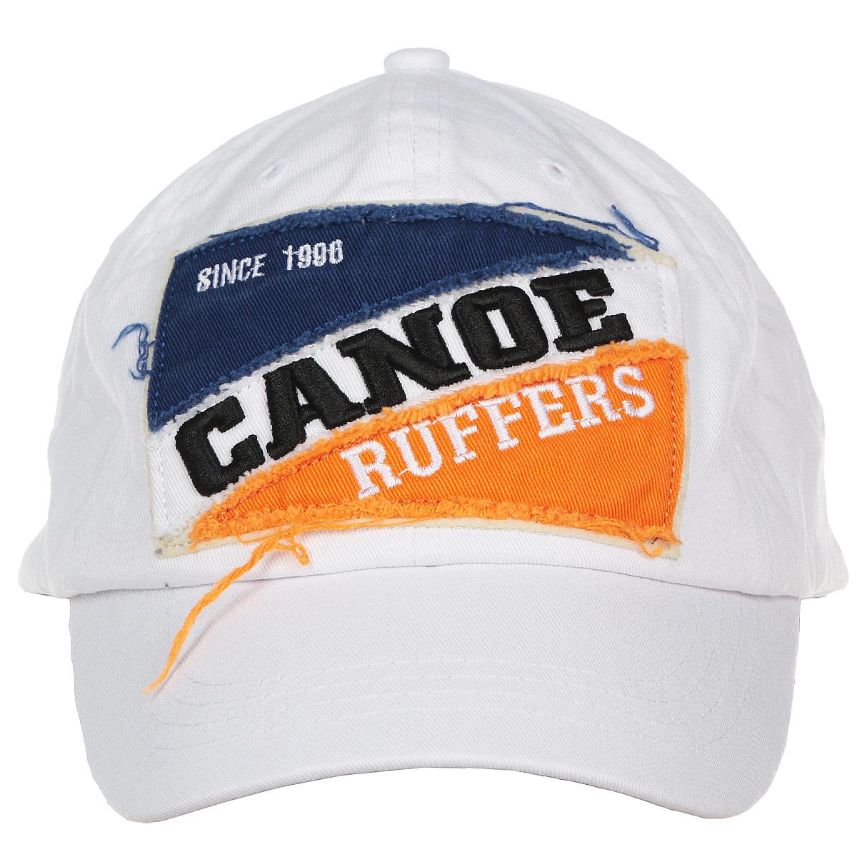 Бейсболка1963484Классическая мужская бейсболка Canoe Race, изготовленная из 100% хлопка, идеально подойдет для активного отдыха и обеспечит надежную защиту головы от солнца. Бейсболка имеет перфорацию, обеспечивающую дополнительную вентиляцию. Спереди бейсболка декорирована двухцветной нашивкой с надписью Canoe Ruffers. Объем изделия регулируется благодаря ремешку с зажимом, оформленным вырубкой в виде листа. Такая бейсболка станет отличным аксессуаром для занятий спортом или дополнит ваш повседневный образ.