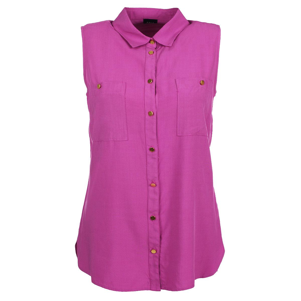 Блуза женская. Bsl-112/438-5275Bsl-112/438-5275Стильная женская блуза Sela, выполненная из высококачественного материала, обладает высокой теплопроводностью, воздухопроницаемостью и гигроскопичностью, позволяет коже дышать, тем самым обеспечивая наибольший комфорт при носке. Модная блузка без рукавов свободного покроя с отложным воротником поможет вам создать неповторимый образ в стиле Casual. Однотонная блуза великолепно сочетается с любыми нарядами. Модель дополнена двумя накладными карманами и застегивается на пуговицы. Такая блузка будет дарить вам комфорт в течение всего дня и послужит замечательным дополнением к вашему гардеробу.