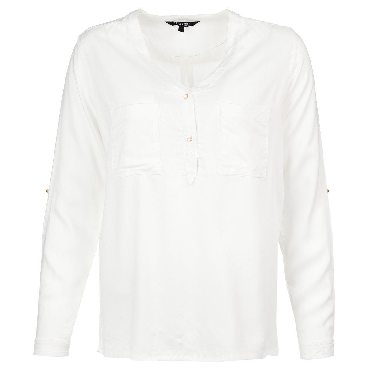 Блузка. SKL1740BISKL1740BIСтильная блузка Top Secret, выполненная из высококачественного материала, обладает высокой теплопроводностью, воздухопроницаемостью и гигроскопичностью, позволяет коже дышать, тем самым обеспечивая наибольший комфорт при носке. Блузка свободного кроя с длинными рукавами и V-образным вырезом горловины застегивается на две пуговицы на груди. Манжеты также застегиваются на пуговицы. Модель дополнена двумя нагрудными карманами и небольшими боковыми разрезами. При желании рукава можно подвернуть до локтя и зафиксировать хлястиком на пуговицу. Такая блузка будет дарить вам комфорт в течение всего дня и послужит замечательным дополнением к вашему гардеробу.
