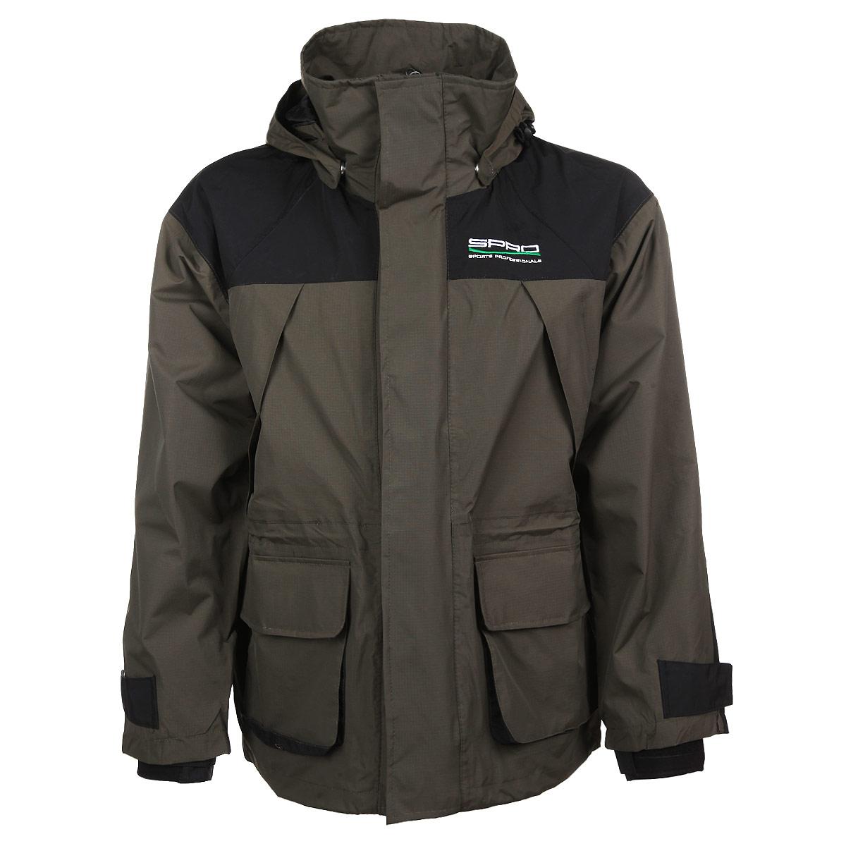 0044112Мужская куртка SPRO - идеальный вариант для рыбалки. Куртка выполнена из плотной ветро-влагозащитной ткани на сетчатой подкладке. Куртка с воротником-стойкой и капюшоном застегивается на пластиковую застежку-молнию и дополнительно на ветрозащитный клапан на липучках. Капюшон крепится к куртке при помощи кнопок и дополнен скрытой резинкой на стопперах. При необходимости капюшон можно отстегнуть. Спереди модель дополнена двумя вместительными накладными карманами с клапанами на липучка и двумя скрытыми нагрудными карманами на молниях. На внутренней стороне - два потайных кармана на молниях. Куртка имеет скрытую кулиску на талии. Рукава оснащены вшитыми эластичными манжетами, защищающими от продувания и регулируются при помощи хлястиков на липучках. Низ модели дополнен скрытой резинкой на стопперах. Такая куртка обеспечит вам надежную защиту, а также подарит тепло и комфорт в любой ситуации.