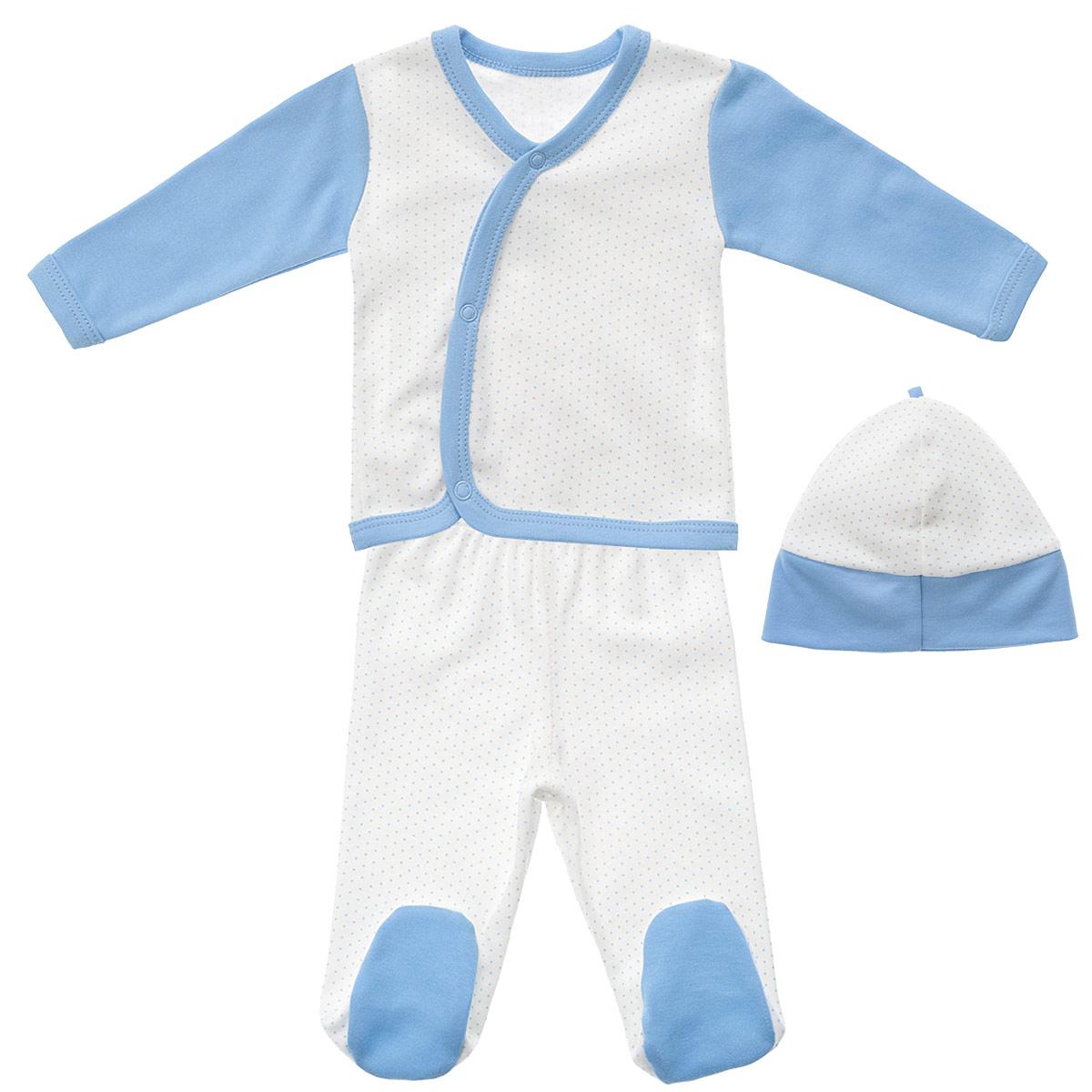 Комплект одежды33С-5210Детский комплект одежды для мальчика Фреш Стайл прекрасно подойдет вашему малышу. Он включает в себя кофточку, ползунки и шапочку. Изготовлен комплект из натурального хлопка, благодаря чему он необычайно мягкий, не раздражает нежную кожу ребенка и хорошо вентилируется, а эластичные швы приятны телу крохи и не препятствуют его движениям. Кофточка с длинными рукавами и V-образным вырезом горловины спереди застегивается на металлические застежки-кнопки, что позволит легко переодеть младенца. Вырез горловины, края рукавов, низ изделия и планка с кнопками дополнены трикотажной бейкой контрастного цвета. Оформлено изделие принтом в мелкий горошек. Рукава выполнены в контрастном цвете. Ползунки с закрытыми ножками на талии имеют эластичную резинку, не сдавливающую животик ребенка, обеспечивая наибольший комфорт. Оформлено изделие принтом в мелкий горошек. Стопы выполнены из однотонной ткани контрастного цвета. Шапочка защищает еще не заросший родничок от ветра и солнца....