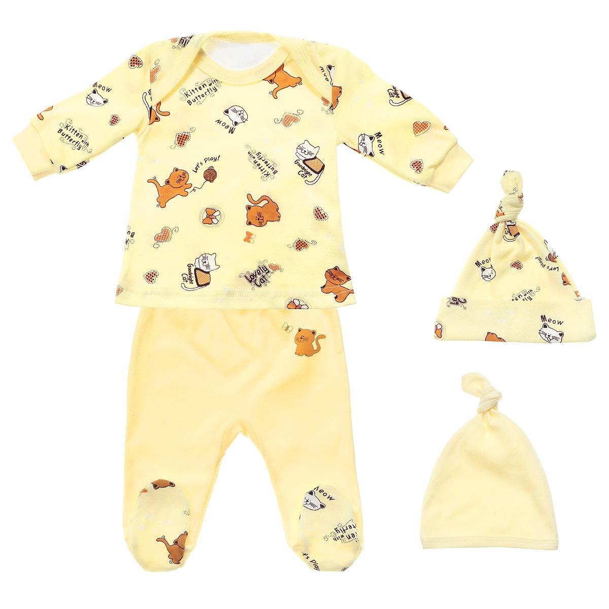 Комплект детский, 4 предмета. 33к-5236 желт33к-5236Детский комплект одежды Фреш Стайл прекрасно подойдет вашему малышу. Он включает в себя футболку с длинным рукавом, ползунки и две шапочки. Изготовлен комплект из натурального хлопка, благодаря чему он необычайно мягкий, не раздражает нежную кожу ребенка и хорошо вентилируется, а эластичные швы приятны телу крохи и не препятствуют его движениям. Футболка капелька с длинными рукавами на плечах имеет удобные запахи, что позволит легко переодеть младенца. Оформлено изделие оригинальным принтом с изображением котиков. Вырез горловины дополнен трикотажной бейкой. Рукава снабжены трикотажными манжетами. Ползунки с закрытыми ножками на талии имеют широкую трикотажную резинку, не сдавливающую животик ребенка, обеспечивая наибольший комфорт. Они выполнены из однотонной ткани и оформлены изображением милого котенка. Стопы изготовлены из принтованной ткани. Шапочка защищает еще не заросший родничок от ветра и солнца. Внутренние швы тщательно обработаны, чтобы не...