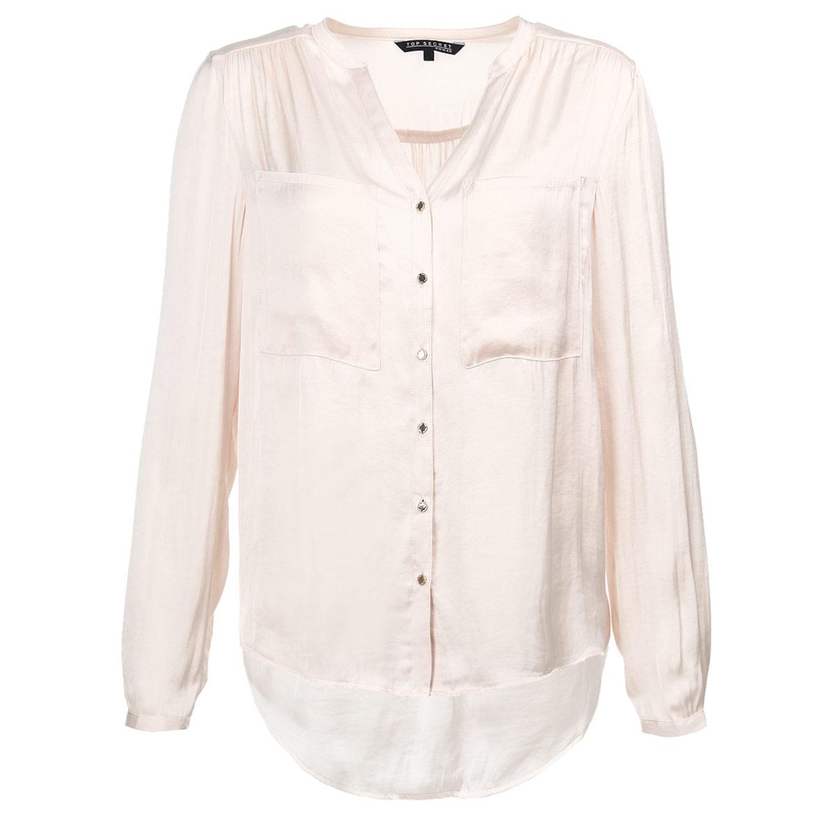 Блузка женская. SKL1750SKL1750ROЭлегантная блузка Top Secret выполнена из струящегося шелковистого полиэстера, материал очень приятный на ощупь. Модель прямого кроя с длинными рукавами и V-образным вырезом горловины. Блузка застегивается на металлические пуговицы по всей длине изделия. Манжеты также застегиваются на пуговицы. На груди изделие дополнено двумя накладными карманами. Спинка удлиненная. Лаконичная блузка с полукруглым низом будет идеально сочетаться с узкими брюками или леггинсами. Эта блузка послужит отличным дополнением к вашему гардеробу, в ней вы будете чувствовать себя комфортно.
