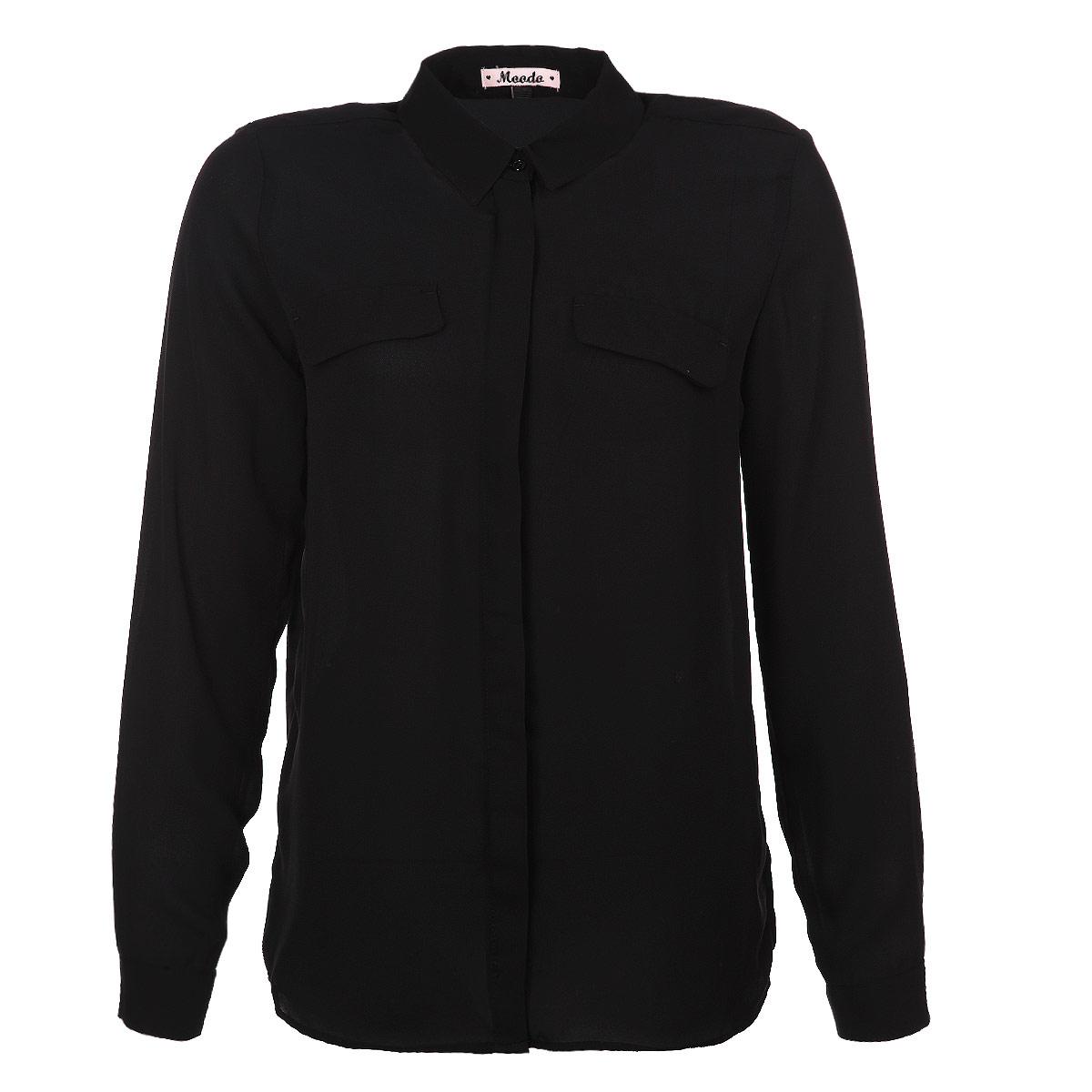 Блузка женская. L-KO-1707L-KO-1707_BLACKСтильная женская блуза Moodo, выполненная из высококачественного материала, подчеркнет ваш уникальный стиль. Модная блузка свободного кроя с длинными рукавами и отложным воротником поможет вам создать неповторимый образ. Однотонная блуза великолепно сочетается с любыми нарядами. Блуза застегивается на пуговицы спереди, и дополнена имитацией карманов на груди. Рукава оснащены манжетами на пуговицах. Такая блузка будет дарить вам комфорт в течение всего дня и послужит замечательным дополнением к вашему гардеробу.