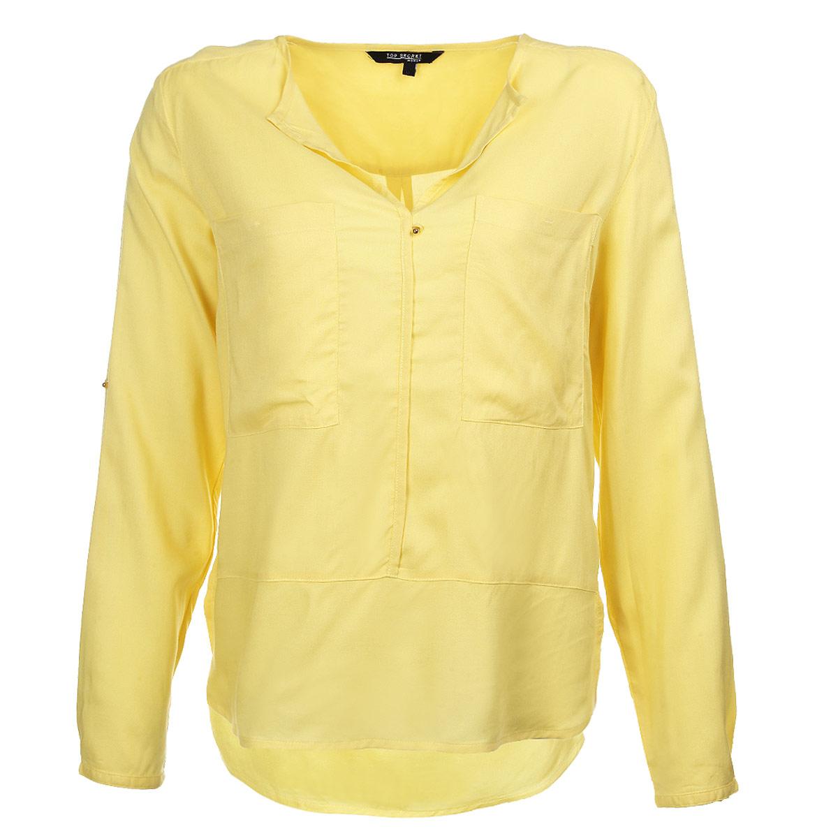 Блузка женская. SKL1723SKL1723ZOСтильная блузка Top Secret, выполненная из высококачественного материала, обладает высокой теплопроводностью, воздухопроницаемостью и гигроскопичностью, позволяет коже дышать, тем самым обеспечивая наибольший комфорт при носке. Блузка свободного кроя с длинными рукавами, V-образным вырезом горловины и полукруглым низом. Модель дополнена двумя нагрудными карманами и небольшими боковыми разрезами. При желании рукава можно подвернуть до локтя и зафиксировать хлястиком на пуговицу. Спинка модели удлиненная. Такая блузка будет дарить вам комфорт в течение всего дня и послужит замечательным дополнением к вашему гардеробу.