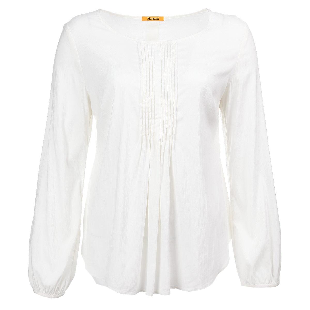 Блузка женская. 1330609/13166091316609Стильная женская блуза Yarash, выполненная из высококачественной вискозы, подчеркнет ваш уникальный стиль. Модная блузка свободного покроя с длинными рукавами и круглым вырезом горловины поможет вам создать неповторимый романтичный образ. Однотонная блуза великолепно сочетается с любыми нарядами. Рукава собраны мелкими складками у манжет, на груди блуза оформлена узкими складками. Такая блузка будет дарить вам комфорт в течение всего дня и послужит замечательным дополнением к вашему гардеробу.