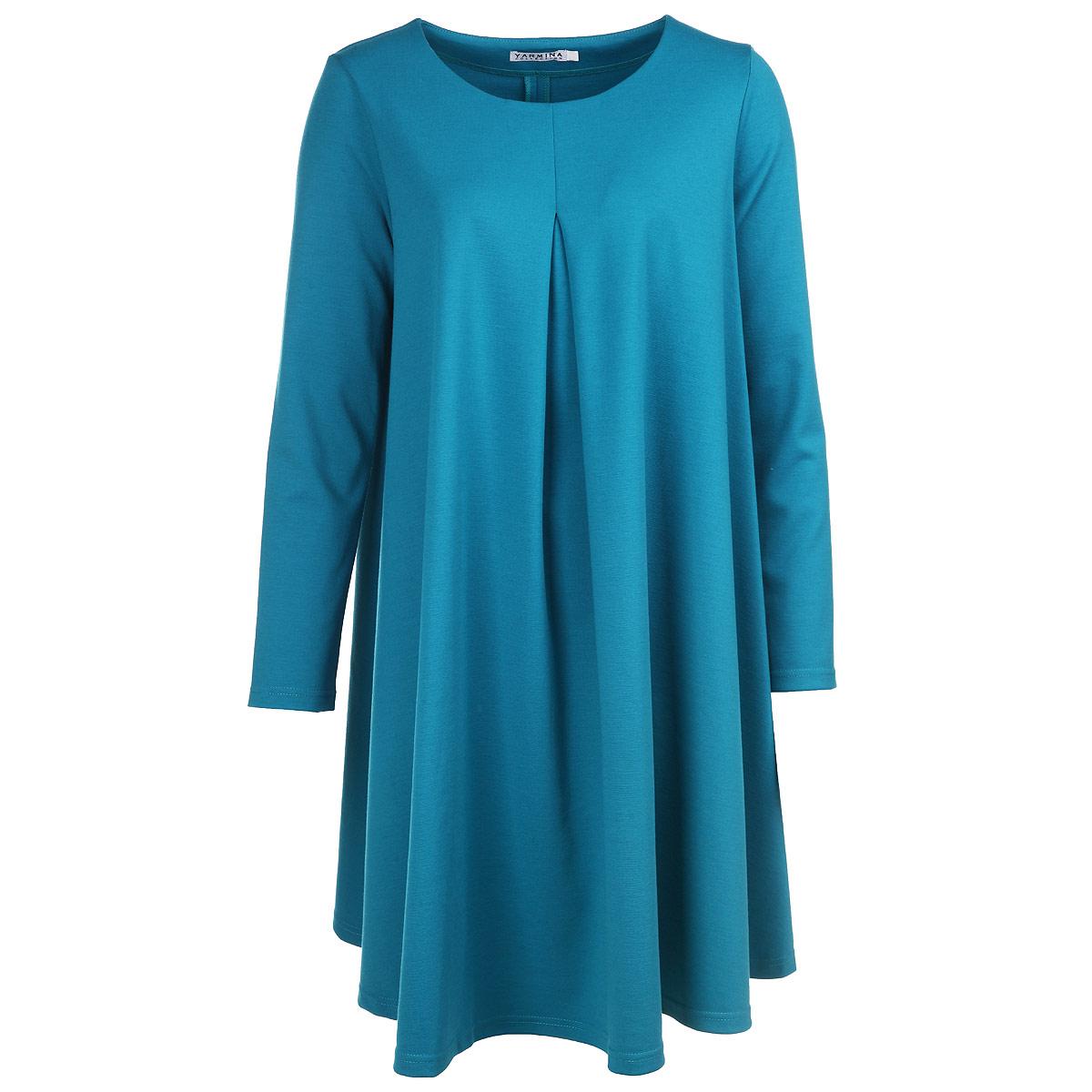 Платье. Y0212-0048Y0212-0048Элегантное платье Yarmina изготовлено из высококачественного материала. Такое платье обеспечит вам комфорт и удобство при носке. Платье с длинными рукавами и круглым вырезом горловины застегивается на застежку-молнию сзади, оно понравится любой ценительнице классического стиля и современных форм. Платье украшено встречной складкой спереди, и красиво драпируется. Изысканное свободное платье создаст обворожительный неповторимый образ. Это модное и удобное платье станет превосходным дополнением к вашему гардеробу, оно подарит вам удобство и поможет вам подчеркнуть свой вкус и неповторимый стиль.