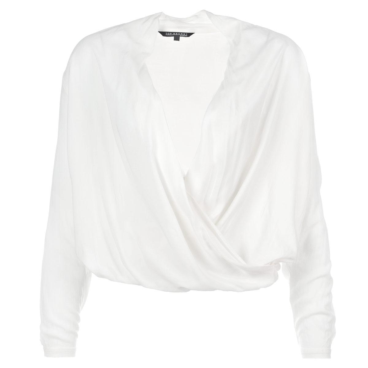 Блузка женская. SBD0531SBD0531BIВеликолепная легкая блузка Top Secret выполнена из высококачественного материала - очень мягкой и приятной на ощупь вискозы. Модель свободного кроя с запахом на груди, длинными рукавами и V-образным вырезом горловины. Манжеты застегиваются на пуговицы. По нижнему краю блузка собрана на резинку. Изделие отлично впишется в ваш гардероб и позволит создать множество стильных образов.