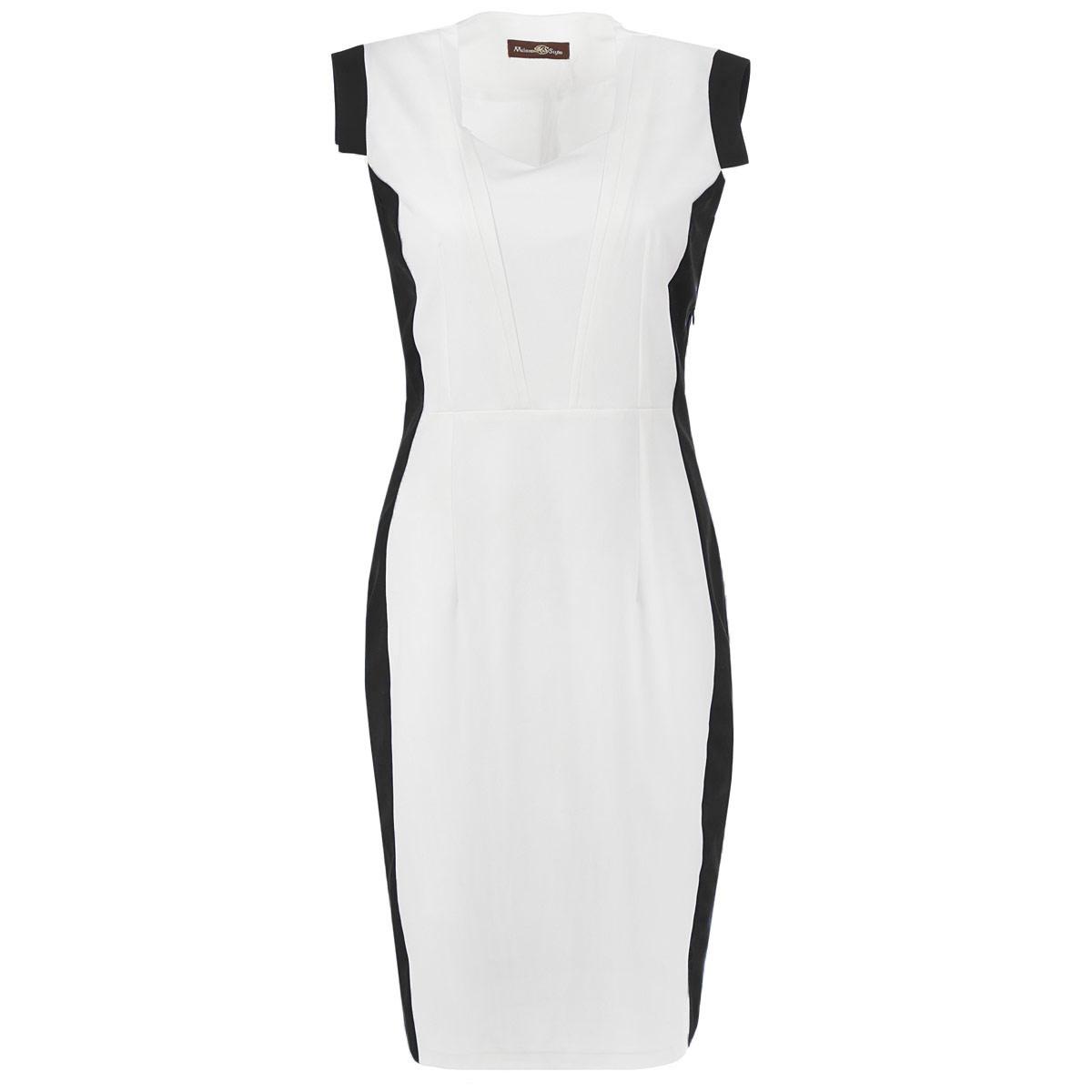 Платье. 41424142Оригинальное женское платье Milana Style, выполненное из высококачественного материала, будет отлично смотреться на вас. Модель облегающего кроя с V-образным вырезом горловины без рукавов, по бокам оформлена вставками контрастного цвета. Платье с отрезной линией талии, в боковом шве расположена потайная молния. Рукава оформлены манжетами. Сзади на юбке предусмотрен небольшой разрез. Платье-футляр подчеркнет все достоинства вашей фигуры. Это платье - отличный вариант для офиса на каждый день. Модель идеальна для создания эффектного образа.