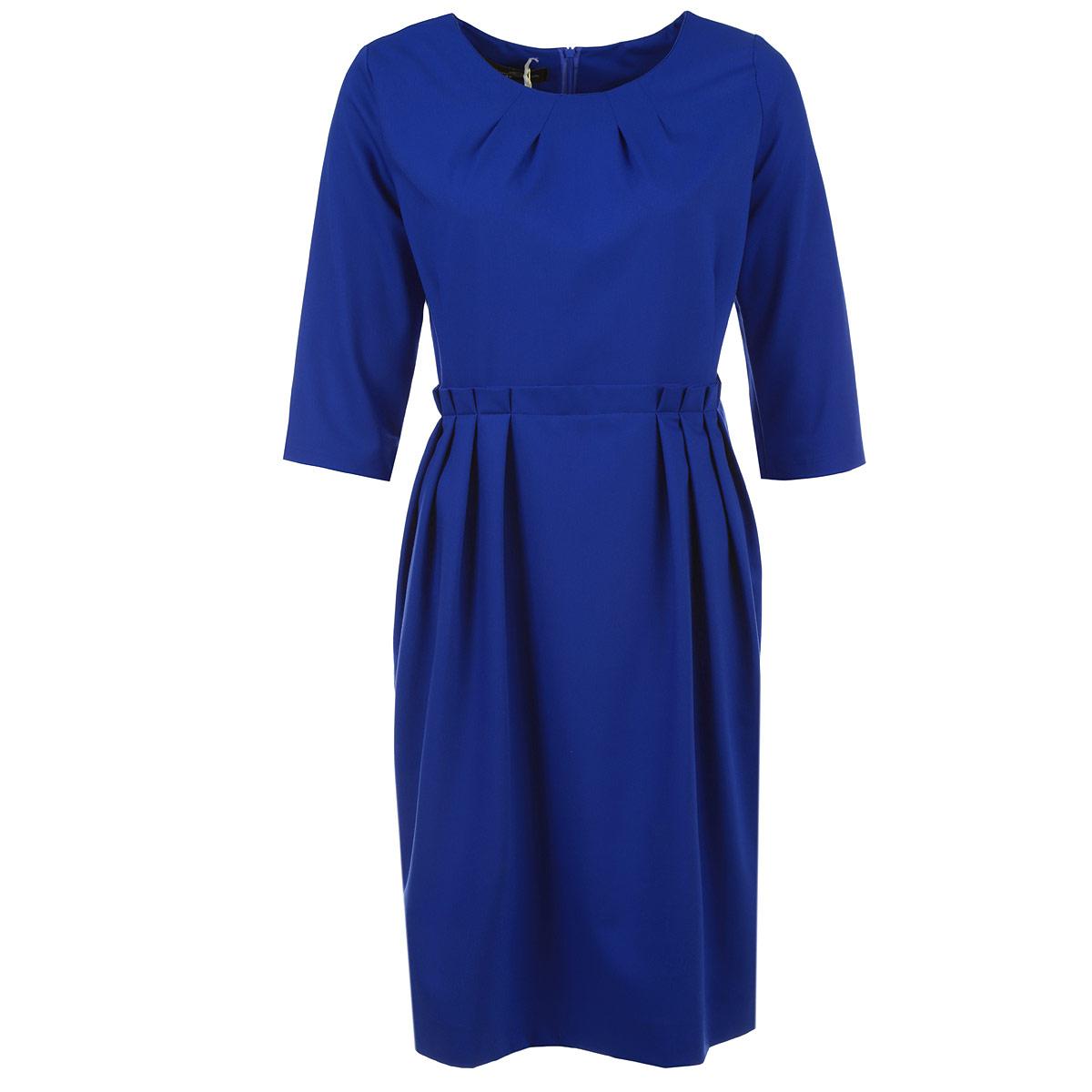 Платье1020MЭлегантное платье Milana Style изготовлено из высококачественного плотного материала. Такое платье обеспечит вам комфорт и удобство при носке. Платье с рукавами до локтя и с круглым вырезом горловины понравится любой ценительнице классического стиля. Платье имеет пришивную расклешенную юбку средней длины. Застегивается изделие на потайную молнию на спинке. На талии модель оформлена декоративными складками. Сзади на юбке предусмотрен разрез. Приталенный силуэт великолепно подчеркнет достоинства фигуры. Изысканный наряд создаст обворожительный неповторимый образ. Это модное и удобное платье станет превосходным дополнением к вашему гардеробу, оно подарит вам удобство и поможет вам подчеркнуть свой вкус и неповторимый стиль.