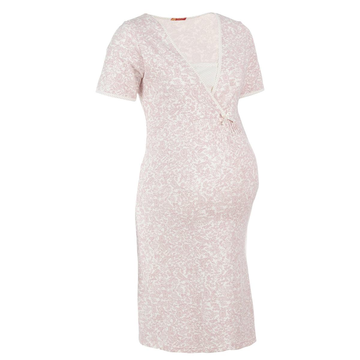 Ночная рубашка25205Удобная, красивая ночная сорочка для беременных и кормящих Мамин Дом Praline, изготовленная из эластичного хлопка, женственна и элегантна. Модель с короткими рукавами и V-образным вырезом горловины оформлена цветочным принтом и украшена спереди атласным бантом. Также спереди модель оформлена защипами. Окантовка выреза горловины, низ рукавов и вставка украшены мелким гороховым принтом. Скрытые прорези в области груди обеспечивают легкий доступ для кормления. Свободный крой позволяет носить ночную сорочку, как во время беременности, так и после родов. Такая сорочка сделает отдых будущей мамы комфортным. В комплект входят нагрудник и рукавички для малыша. Одежда, изготовленная из хлопка, приятна к телу, сохраняет тепло в холодное время года и дарит прохладу в теплое, позволяет коже дышать.