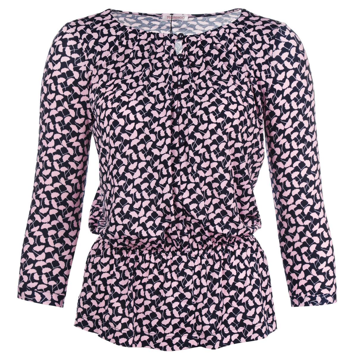 Блузка женская. 70717071-2Стильная блузка Mondigo, выполненная из высококачественного струящегося материала, обладает высокой теплопроводностью, воздухопроницаемостью и гигроскопичностью, позволяет коже дышать, обеспечивая наибольший комфорт. Модная блузка свободного покроя с круглым вырезом горловины и рукавами 3/4 поможет вам создать неповторимый образ в стиле Casual. На груди изделие застегивается на пуговицы. На талии предусмотрена эластичная резинка. Такая блузка будет дарить вам комфорт в течение всего дня и послужит замечательным дополнением к вашему гардеробу.