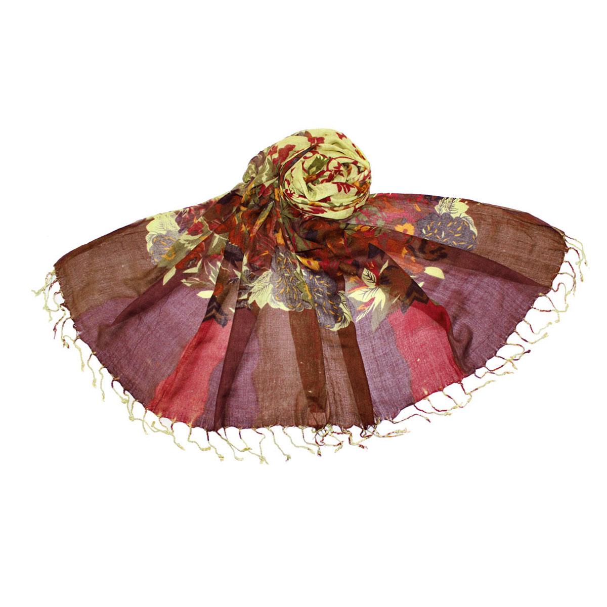 Палантин493080нЭлегантный палантин Ethnica станет стильным аксессуаром для любой ценительницы классики. Палантин изготовлен из вискозы и окрашен с использование натуральных красителей. Палантин украшен бахромой по краям и оформлен оригинальным цветочным рисунком. Такой палантин превосходно дополнит любой наряд и подчеркнет ваш изысканный вкус. Легкий и изящный палантин принесет в ваш образ утонченность и шарм.