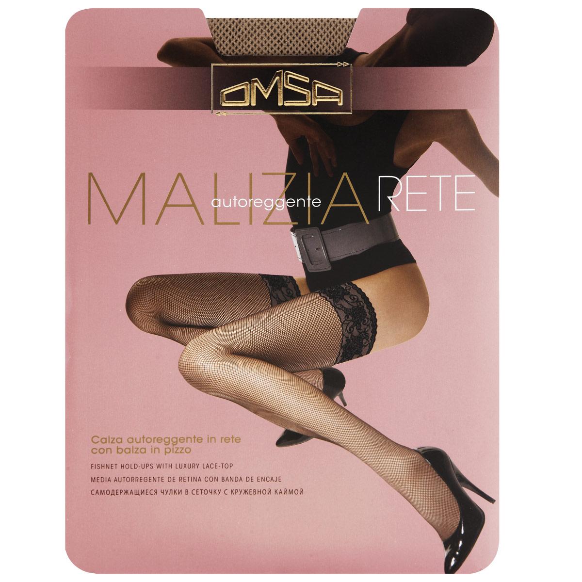 Malizia Rete_NaturalСамодержащиеся чулки в сеточку Omsa Malizia Rete с кружевной резинкой на силиконовой основе.