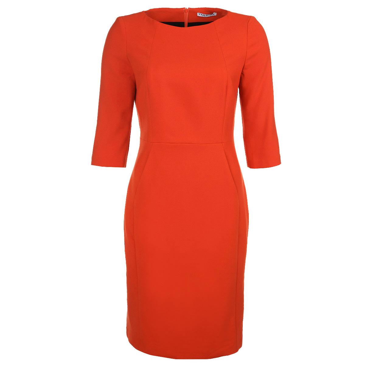 Платье. 40485504048550Элегантное платье Yarmina изготовлено из высококачественного материала. Такое платье обеспечит вам комфорт и удобство при носке. Платье с рукавами до локтя и круглым вырезом горловины застегивается на застежку-молнию сзади, оно понравится любой ценительнице классического стиля и современных форм. Платье дополнено двумя прорезными карманами спереди. Приталенная модель с пришивной прямой юбкой великолепно подчеркнет достоинства вашей фигуры. Изысканное платье создаст обворожительный неповторимый образ. Это модное и удобное платье станет превосходным дополнением к вашему гардеробу, оно подарит вам удобство и поможет вам подчеркнуть свой вкус и неповторимый стиль.
