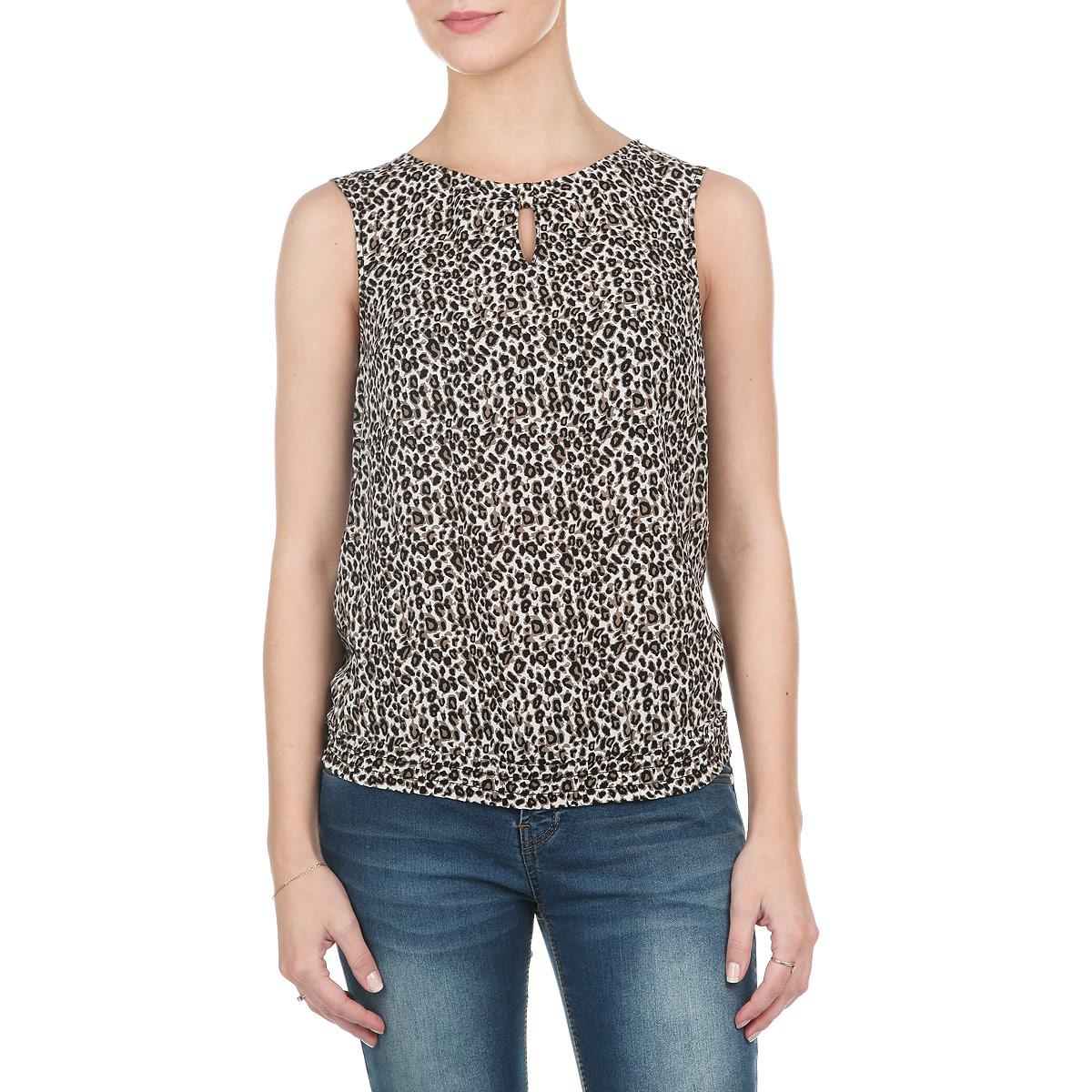 Блузка женская. S15-12081S15-12081_711Элегантная блузка Finn Flare выполнена из мягкой вискозы с леопардовым принтом. Модель свободного кроя с круглым вырезом горловины и без рукавов. Низ изделия собран на резинку. Спереди блузка оформлена вырезом в форме капли. На спинке модель застегивается на металлическую пуговку. Лаконичная блузка будет идеально сочетаться с узкими брюками или леггинсами. Эта блузка послужит отличным дополнением к вашему гардеробу, в ней вы будете чувствовать себя комфортно.