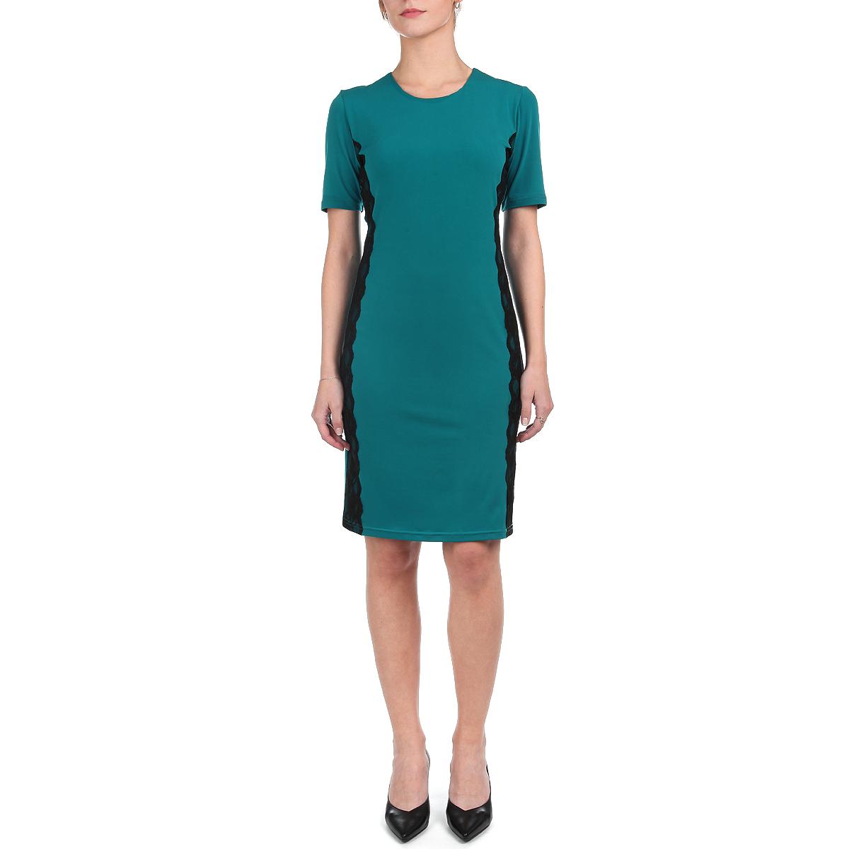 Платье605Элегантное платье Lautus выполнено из мягкого эластичного материала. Модель с короткими рукавами и круглым вырезом горловины подарит вам ощущение комфорта и уверенности. Облегающий крой и классическая длина до колена выгодно подчеркнут достоинства фигуры. Модель по бокам декорирована контрастными кружевными вставками. Модное платье - идеальный вариант для создания эффектного образа.